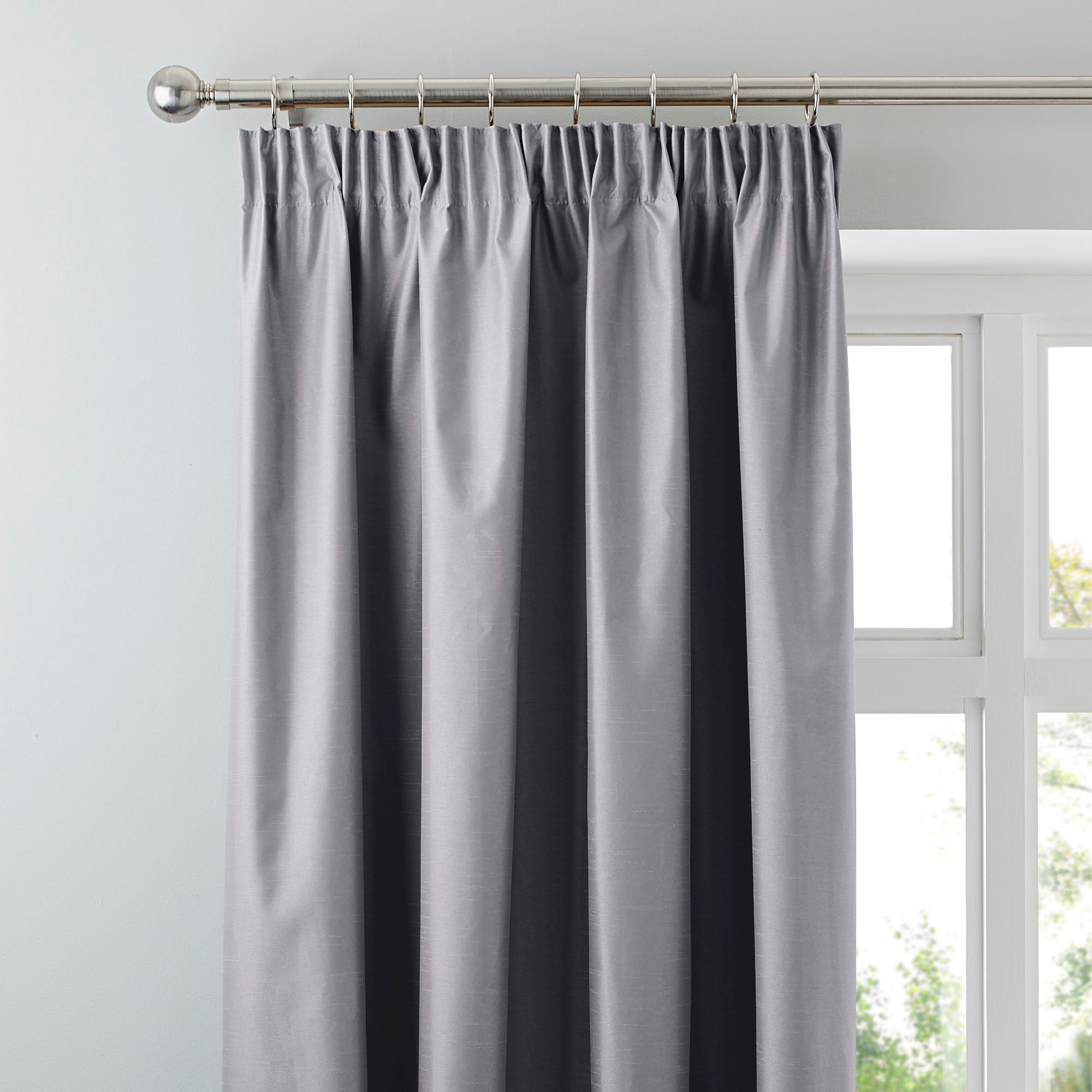 Silver Nova Blackout Pencil Pleat Curtains