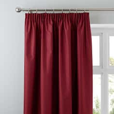 Red Nova Blackout Pencil Pleat Curtains