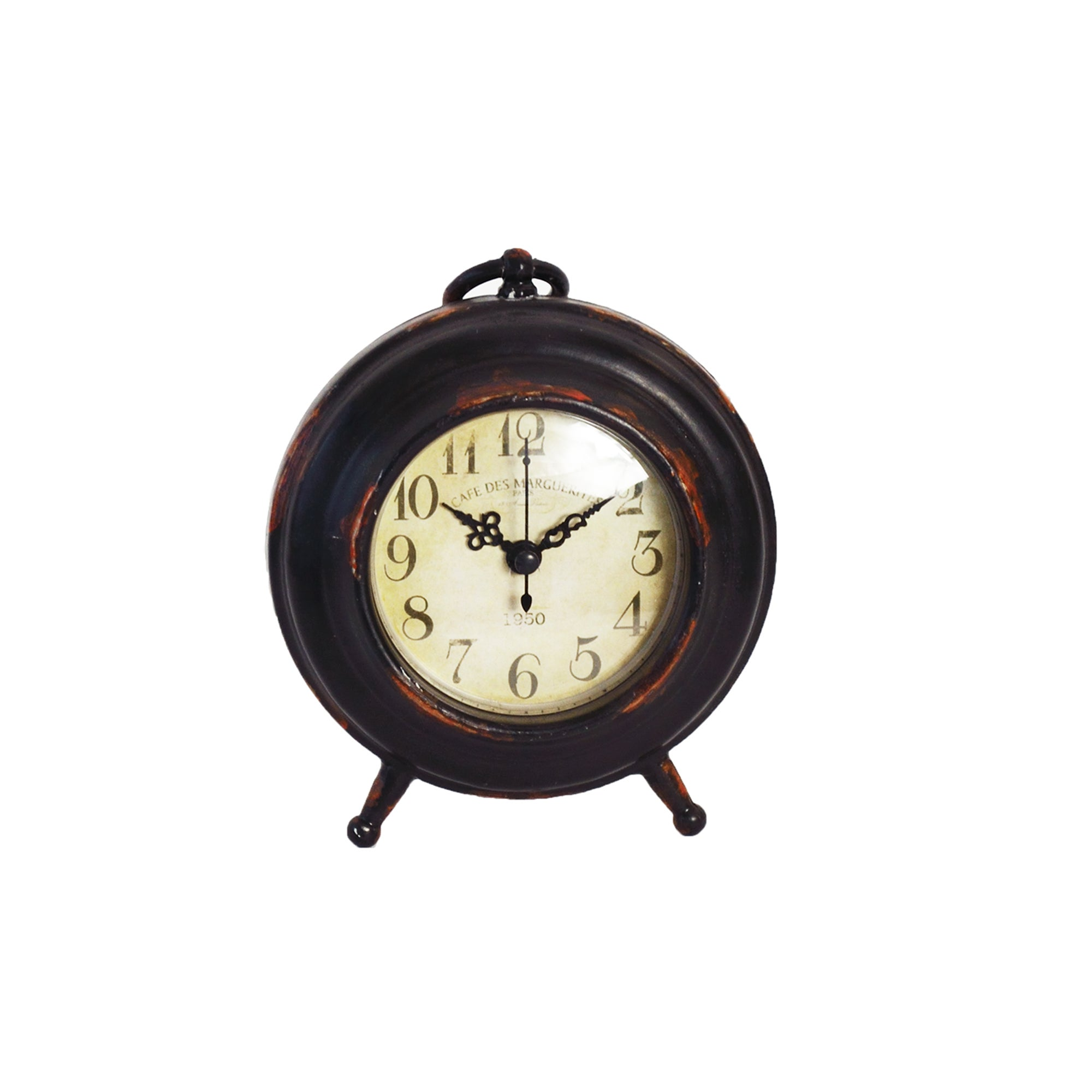 Colonial Collection Rustic Mantel Clock With Handle