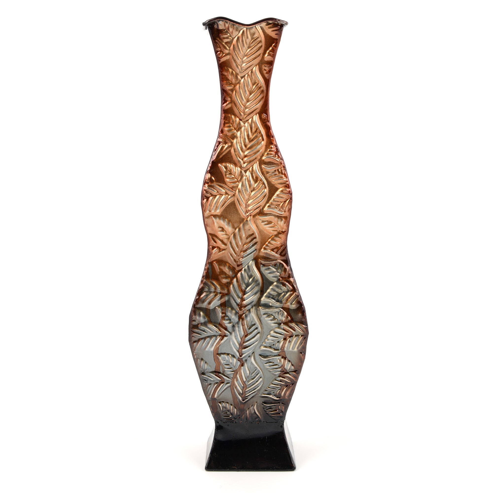 Global Fusion Collection Metal Leaf Vase