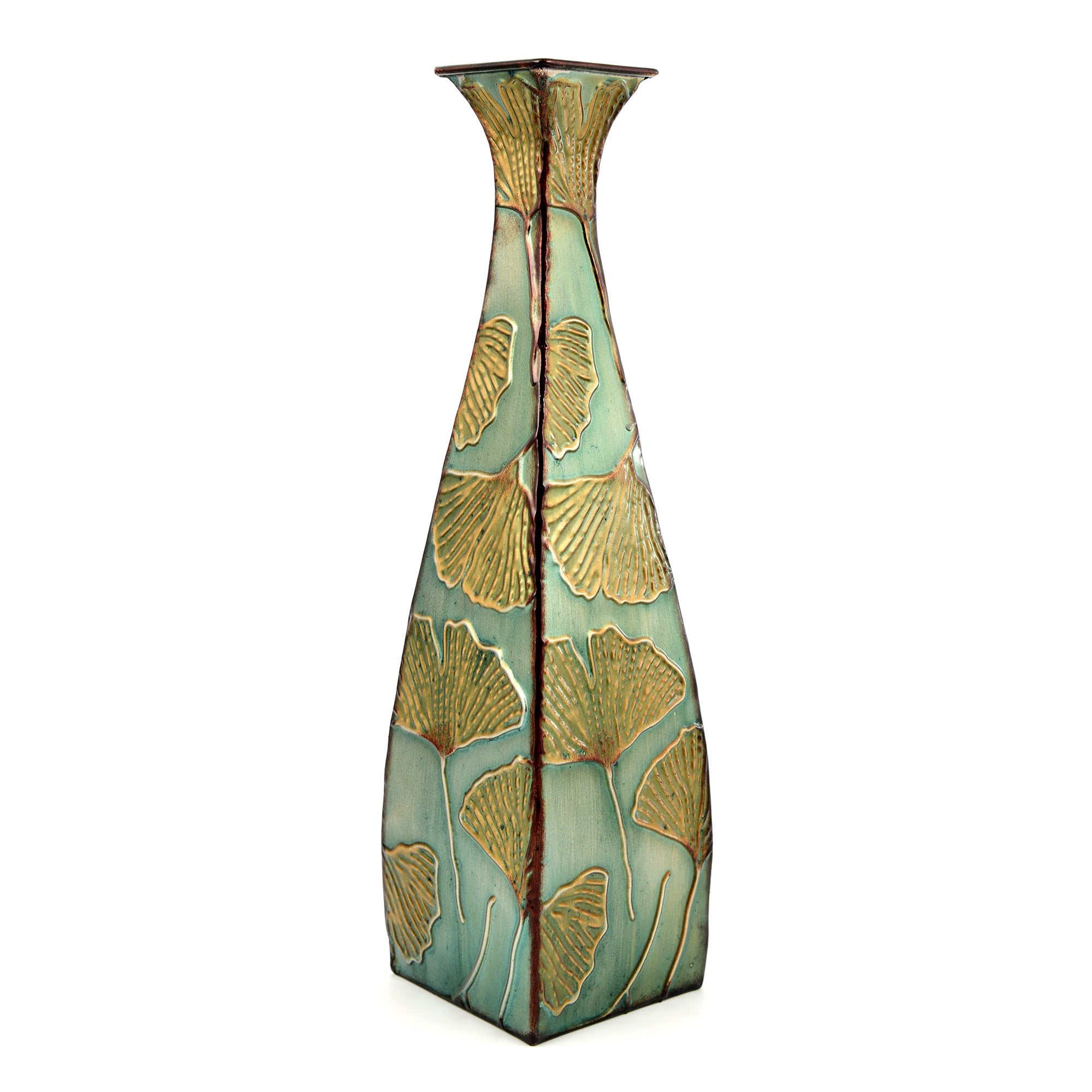 Global Fusion Collection Tall Metal Ginko Vase