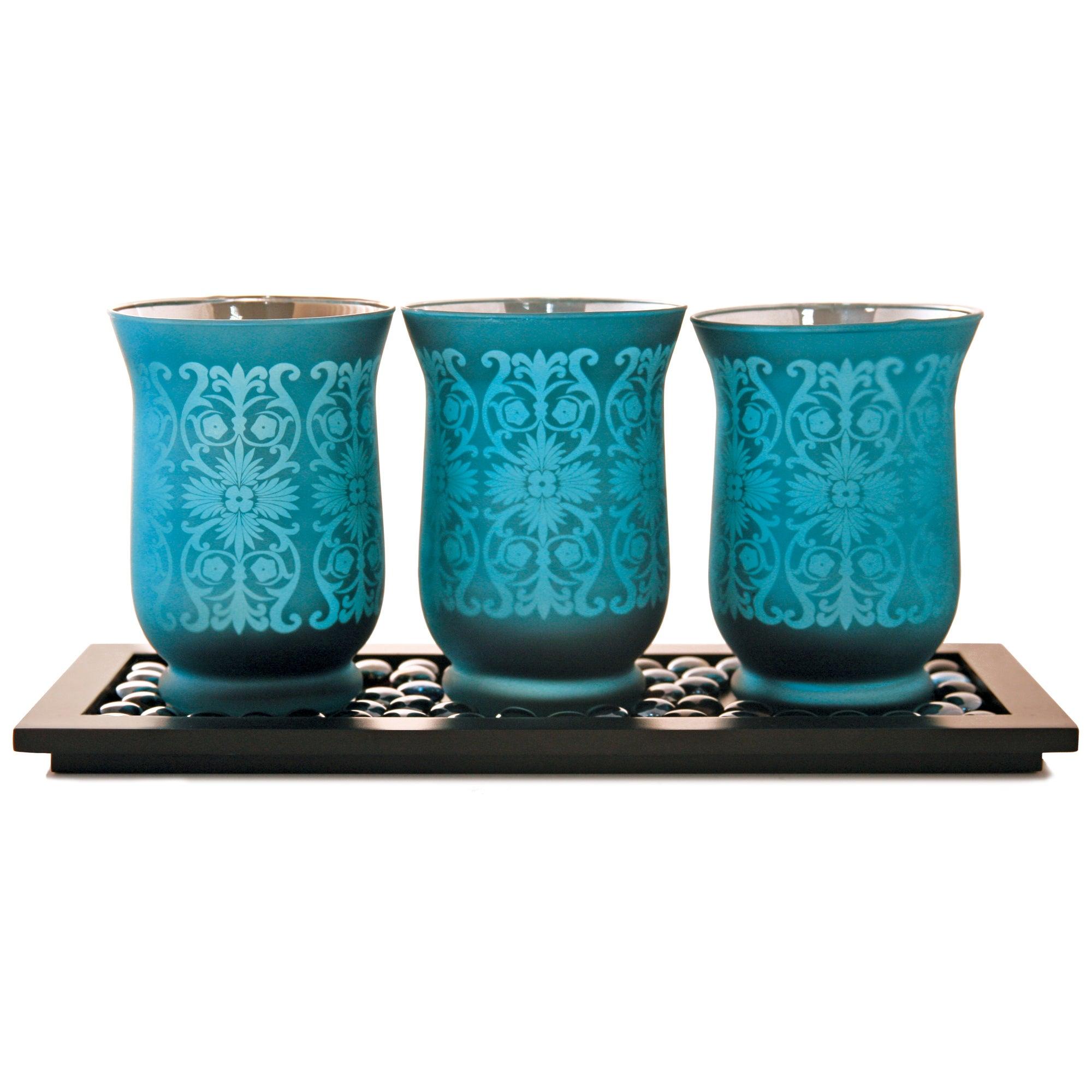 global fusion collection hurricane candle holder set dunelm. Black Bedroom Furniture Sets. Home Design Ideas