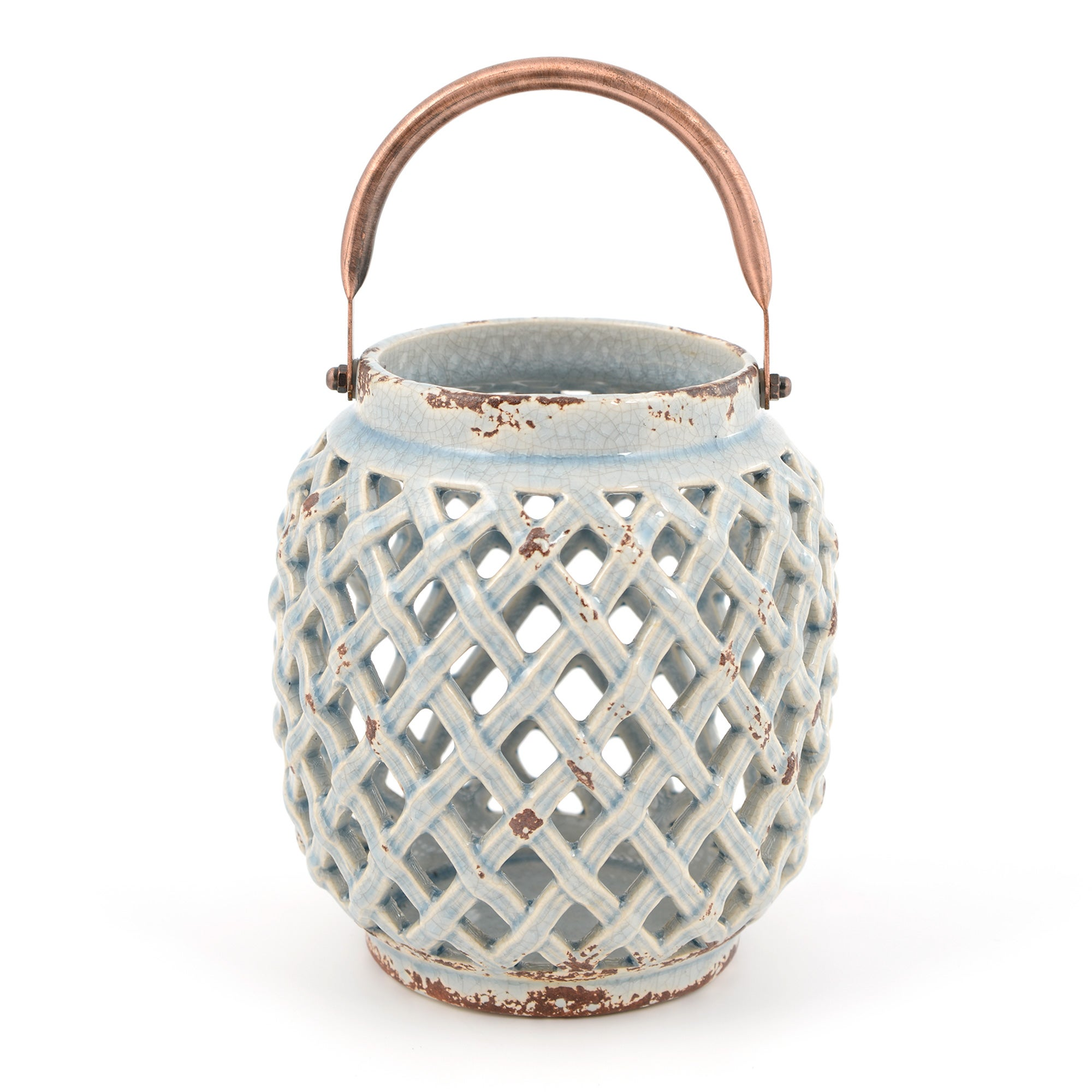 Global Fusion Collection Blue Stoneware Lantern