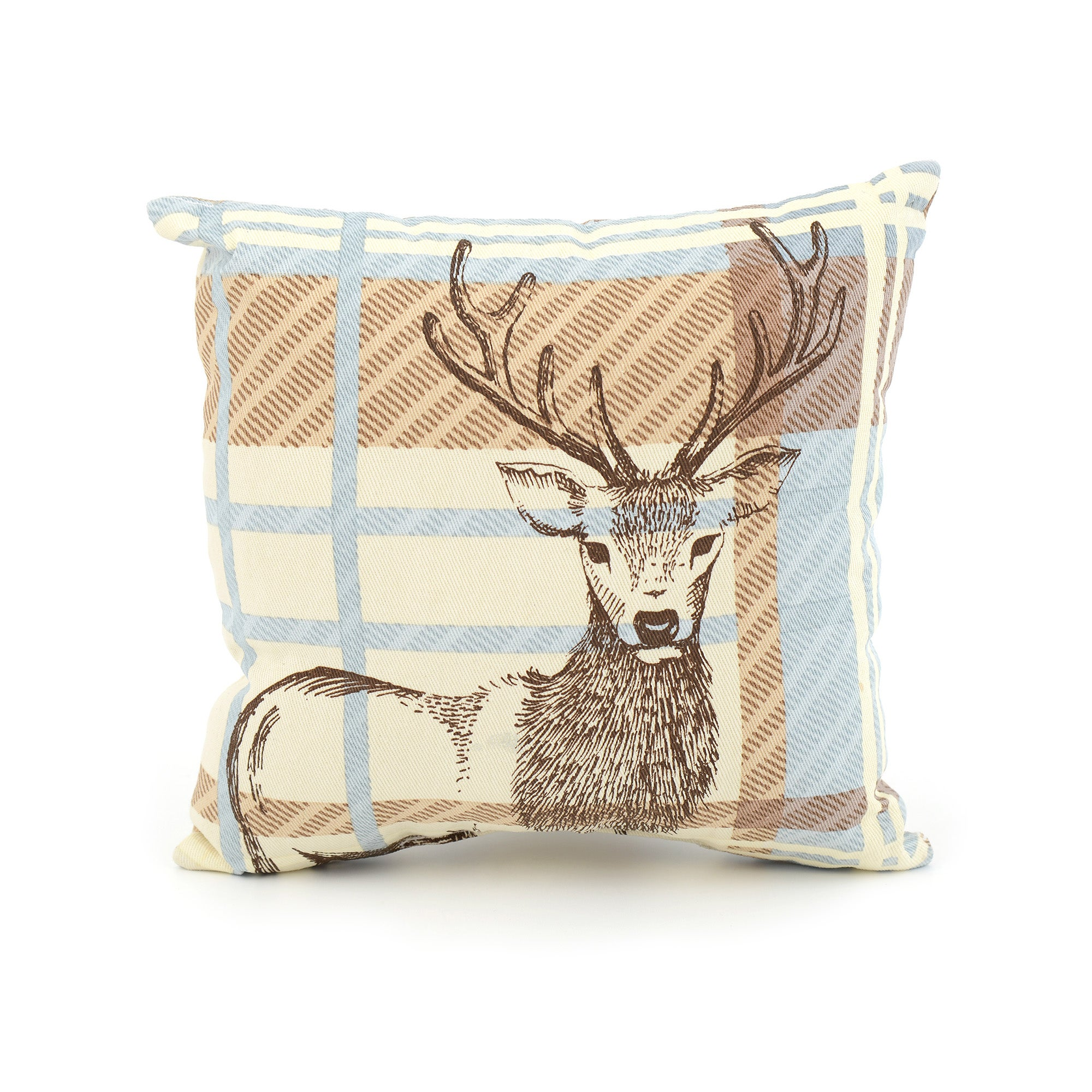 Mini Woodland Retreat Check Stag Cushion
