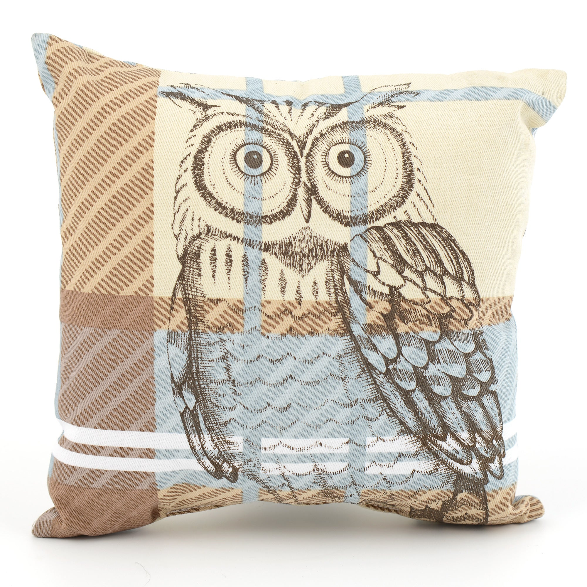 Woodland Retreat Check Owl Cushion