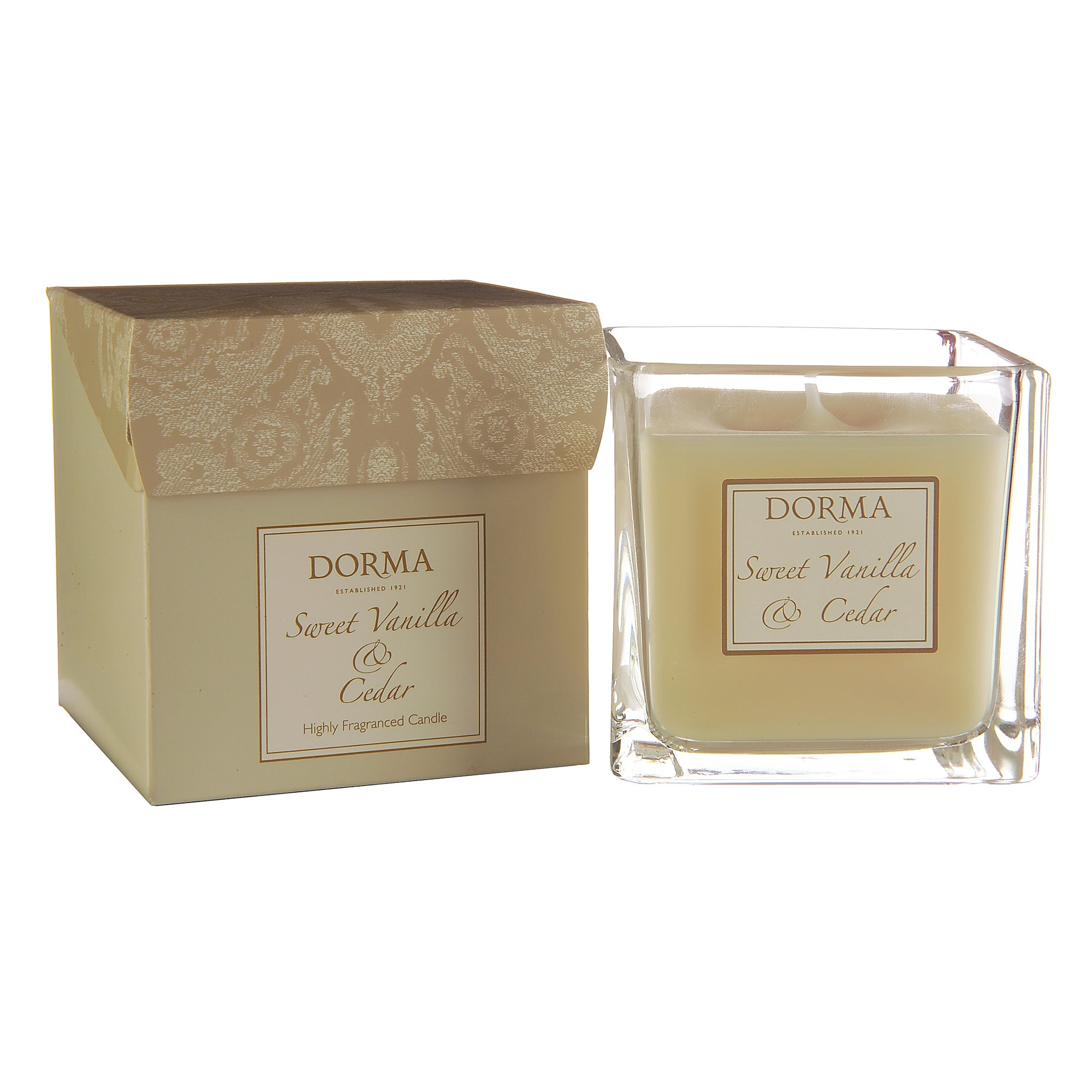 Dorma Sweet Vanilla and Cedar Wax Filled Glass Candle