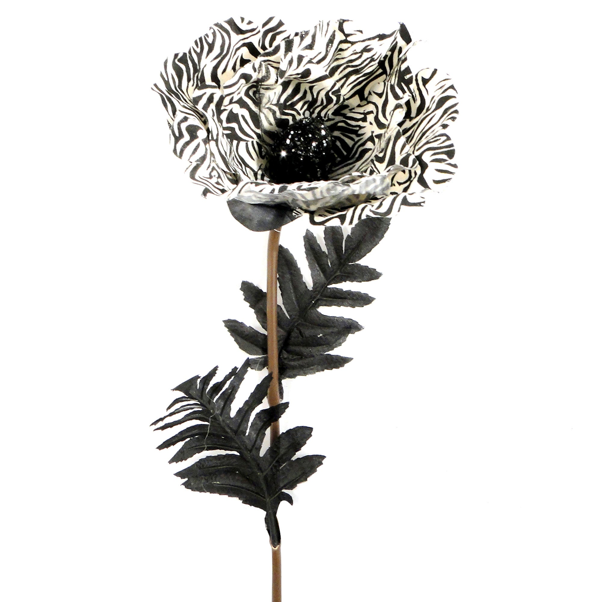 Artificial Zebra Print Poppy Stem