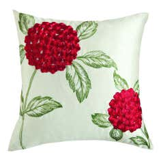 Red Faux Silk Hydrangea Cushion