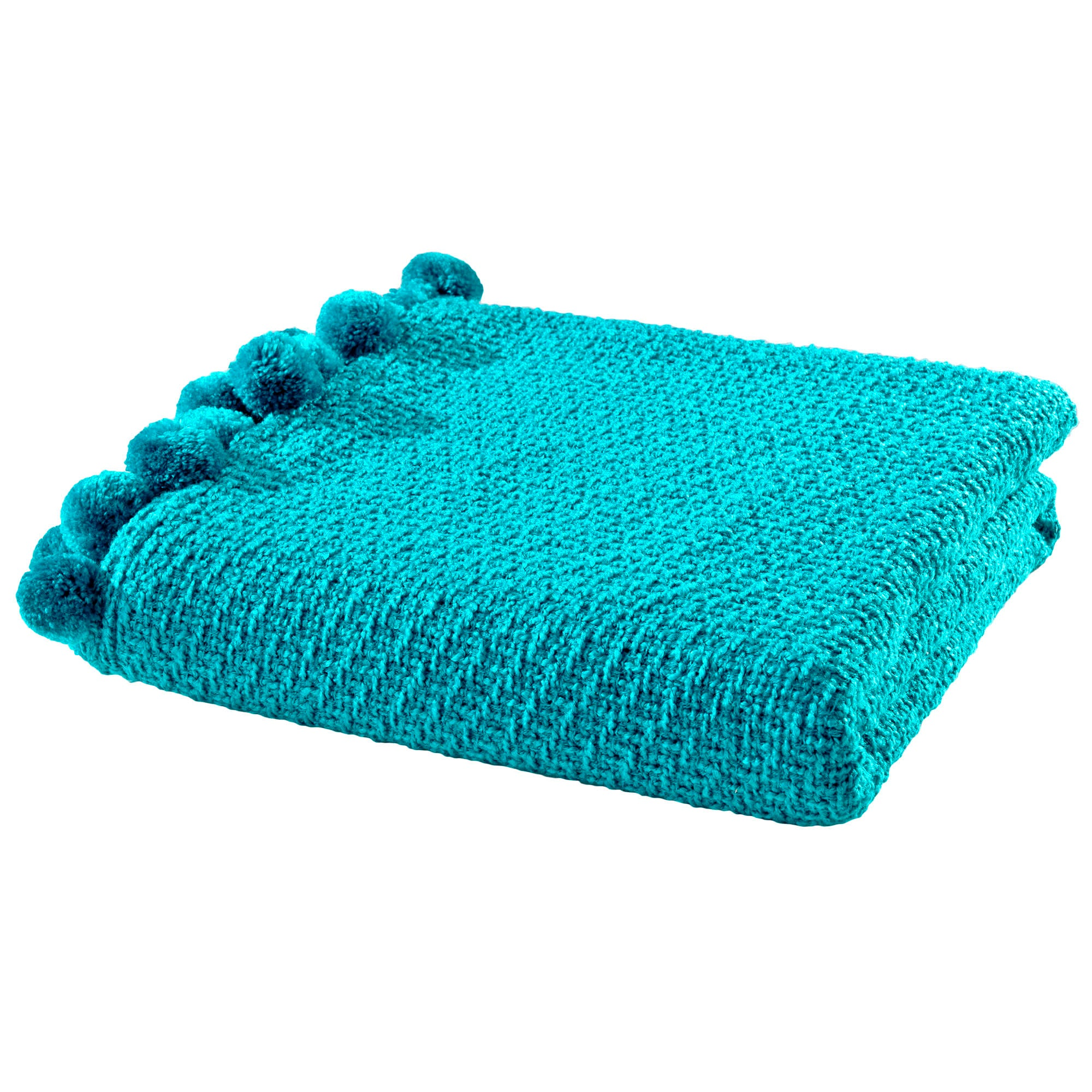 Knitted Pom Pom Throw