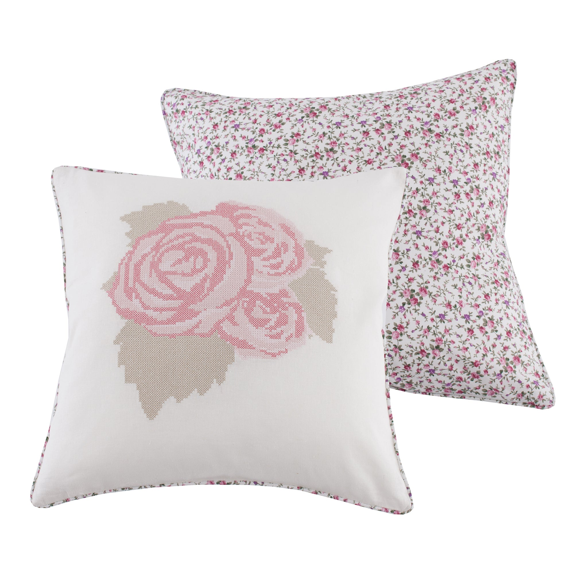 Cross Stitch Rose Cushion