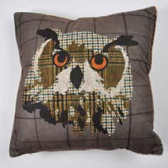 Brown Patchwork Owl Cushion