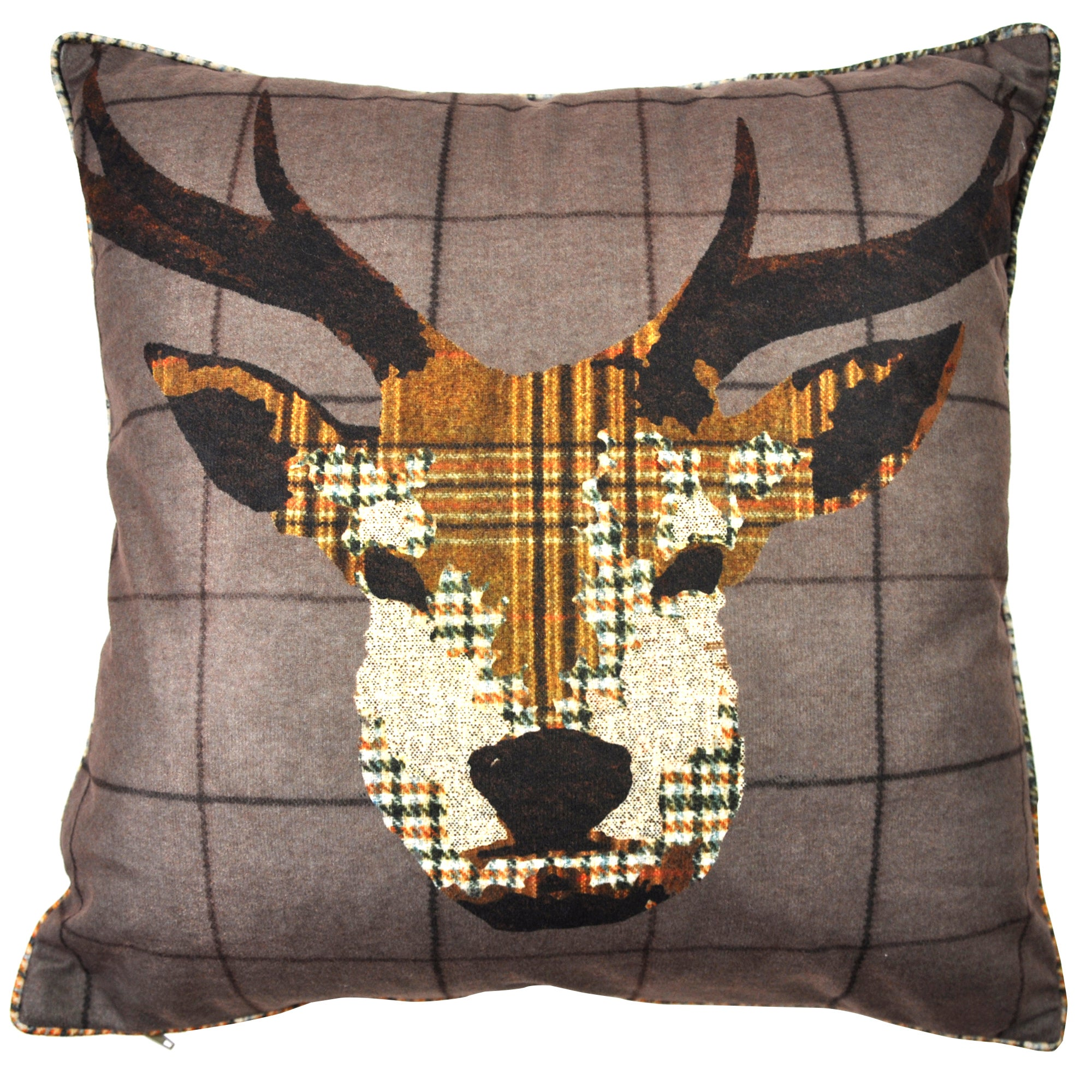 Brown Patchwork Stag Cushion