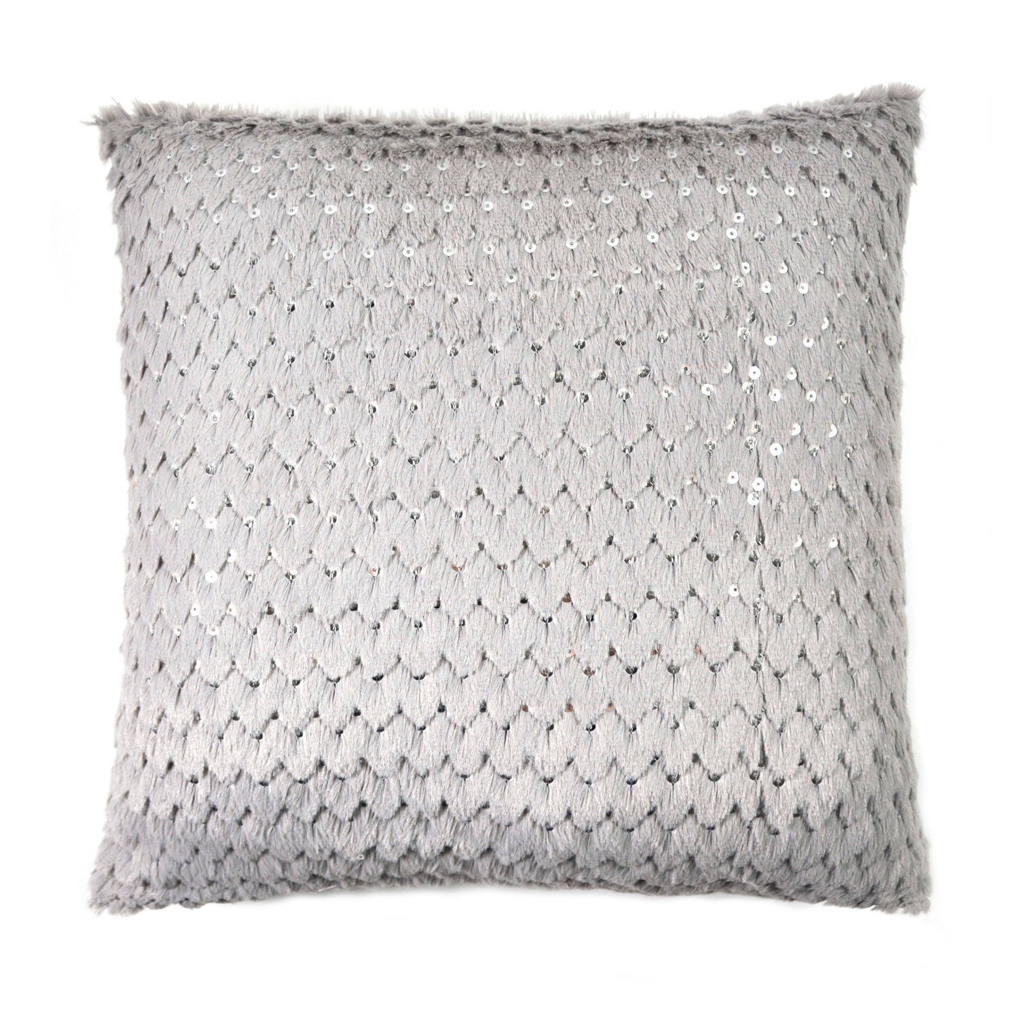 Sequined Grey Faux Fur Cushion
