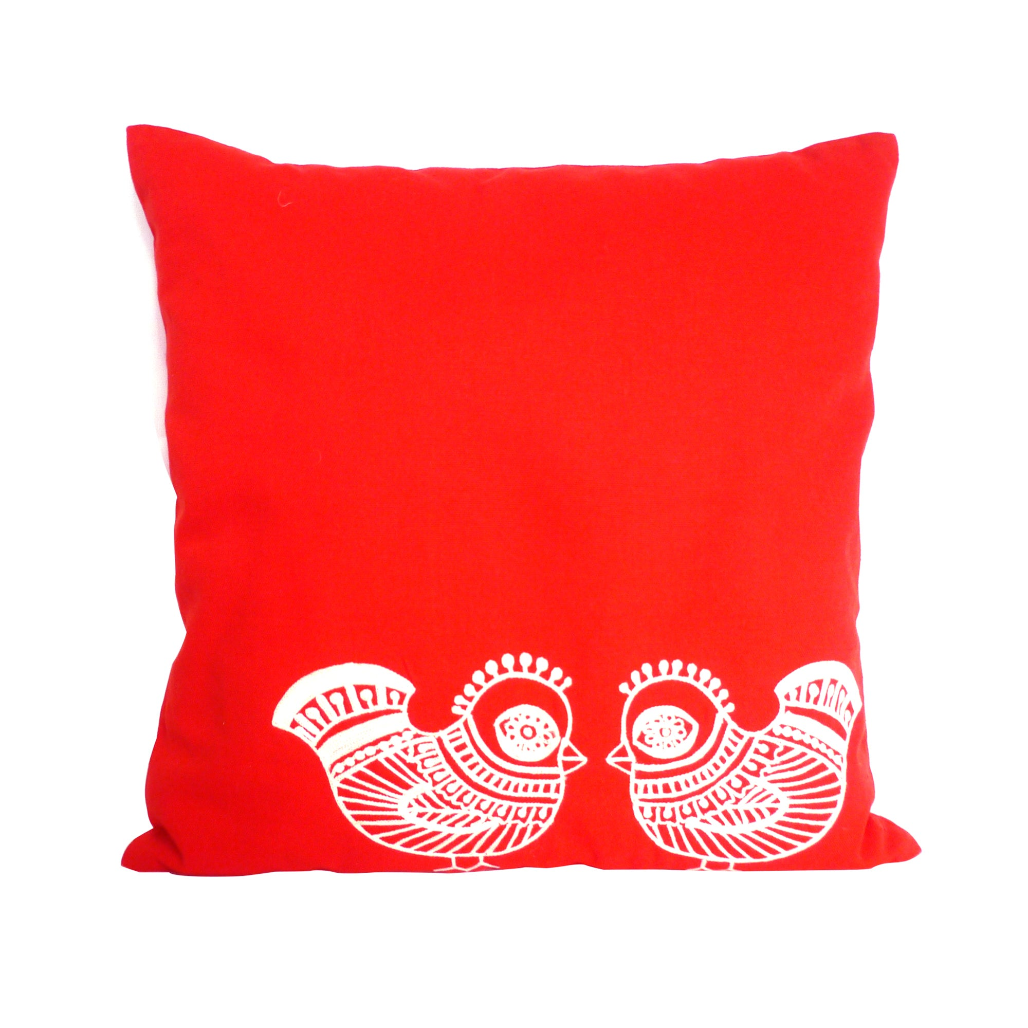 Red Embroidered Birds Cushion