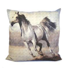 Grey Horse Digital Print Cushion