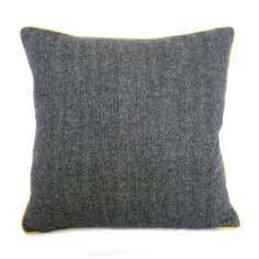 Grey Tweed Mustard-Piped Cushion