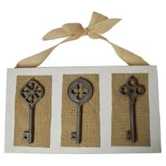 Three Keys on Hanging Canvas Sign