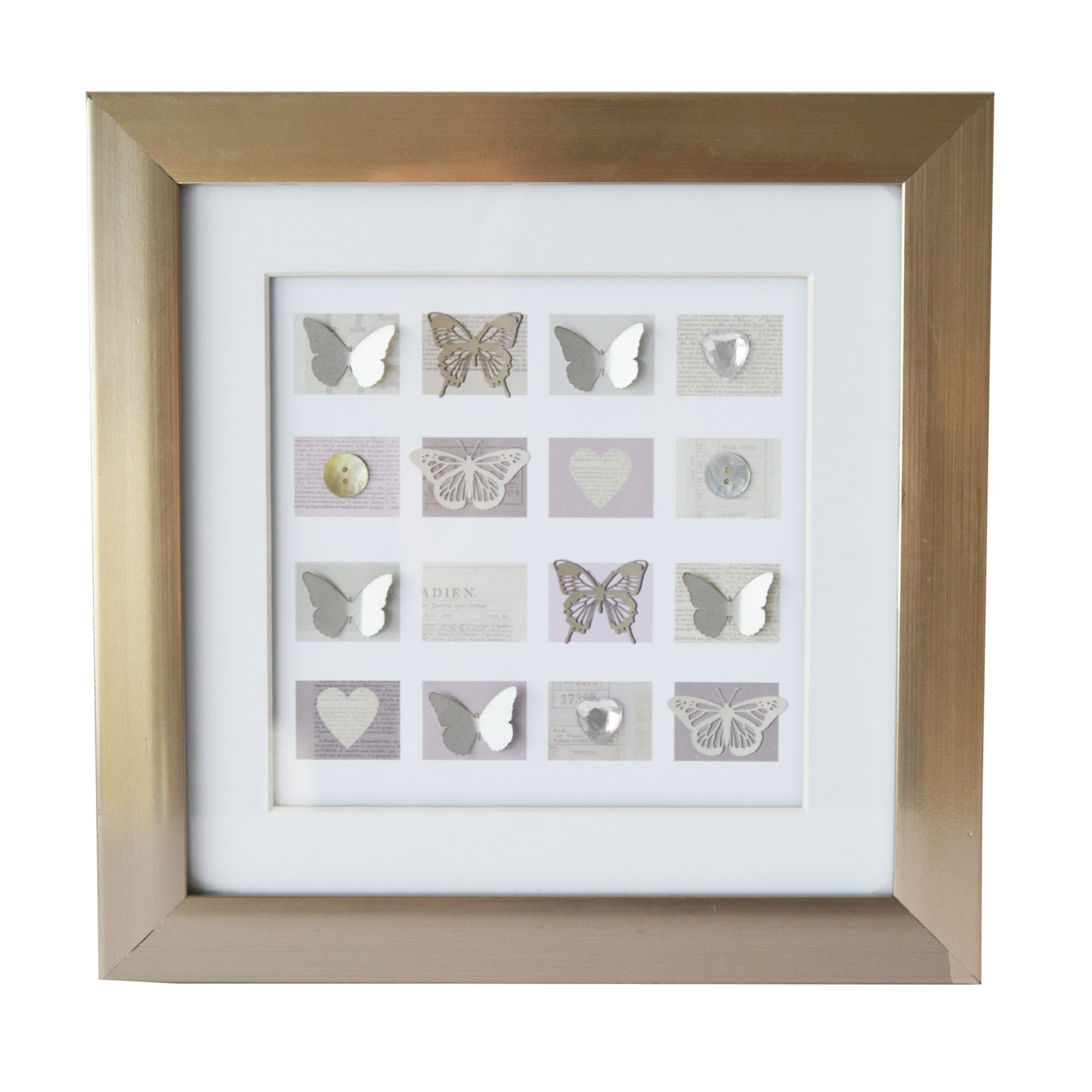 Framed Butterfly and Jewel Wall Art
