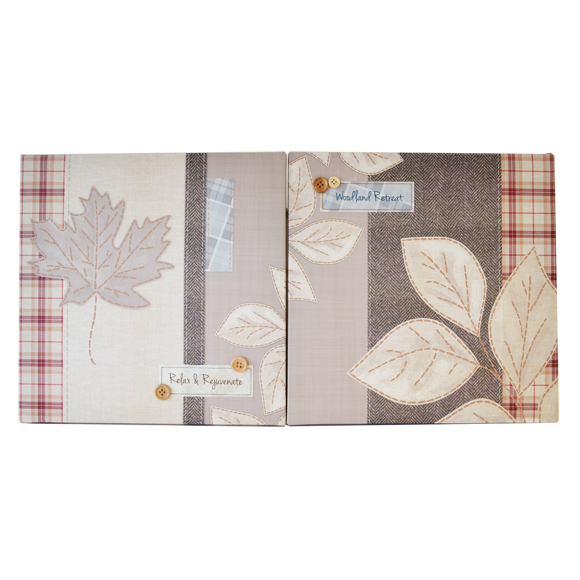 Fabric Leaves Embellished Canvas