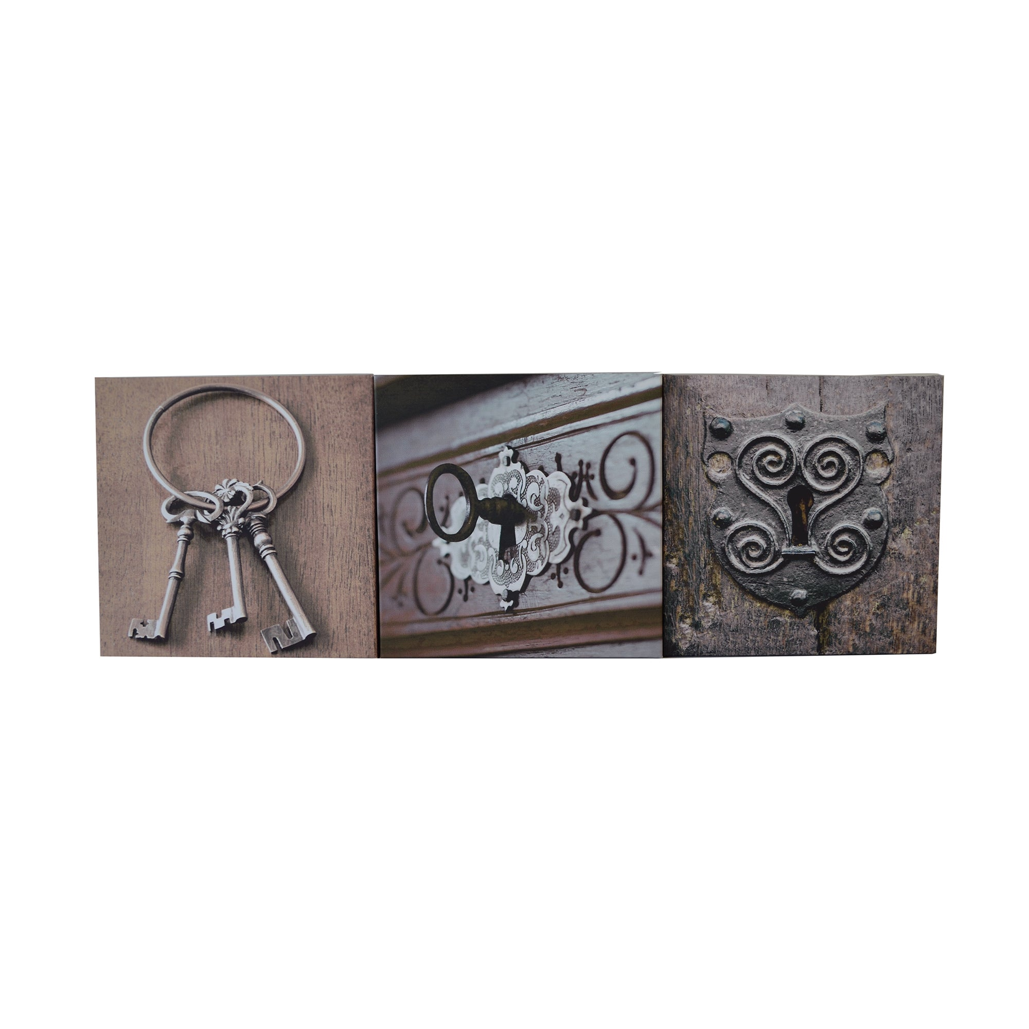 Set of Three Keys Printed Canvases