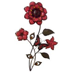 Flower and Butterfly Metal Wall Art