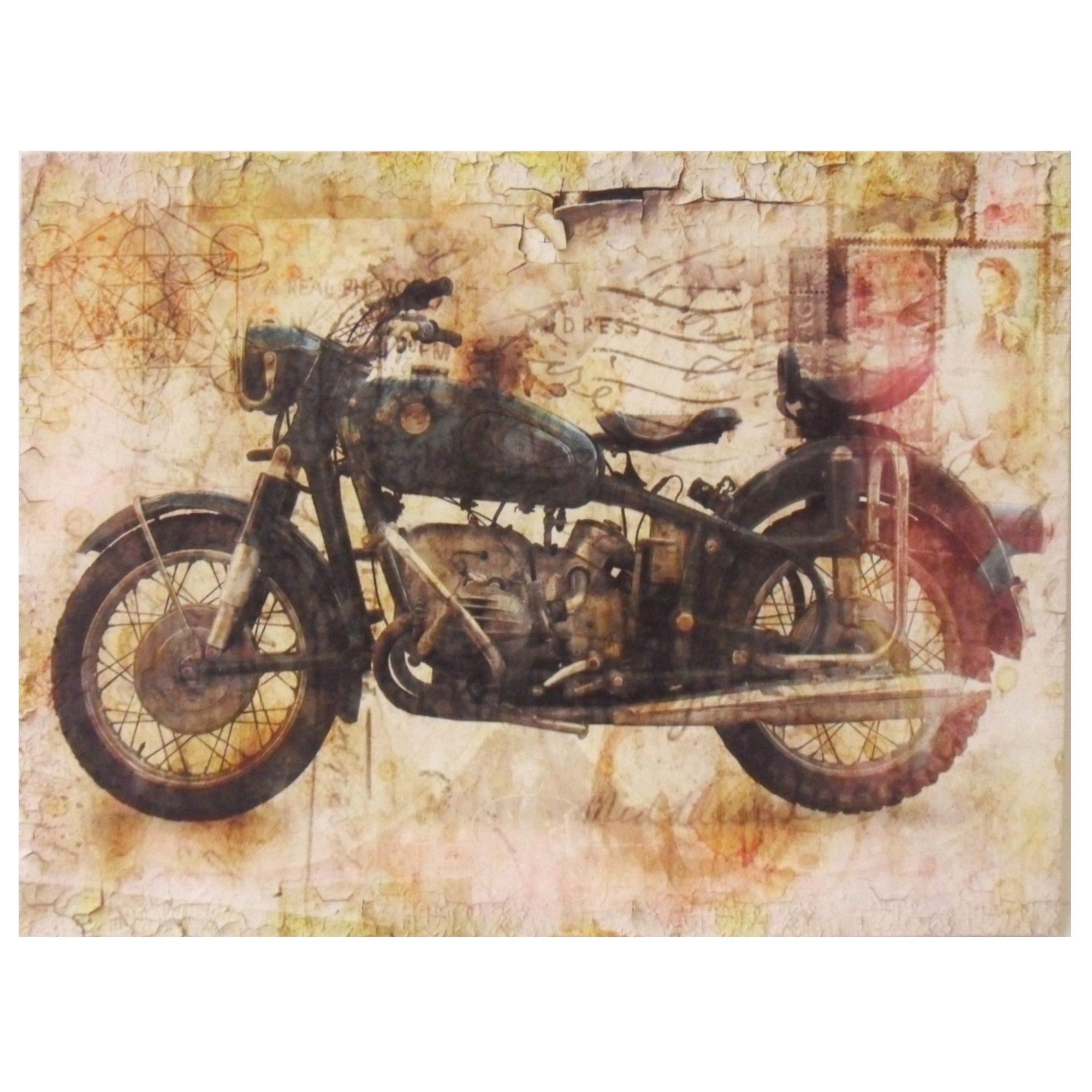 Retro Motorbike Printed Canvas