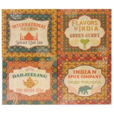 India Tea Label Printed Canvas