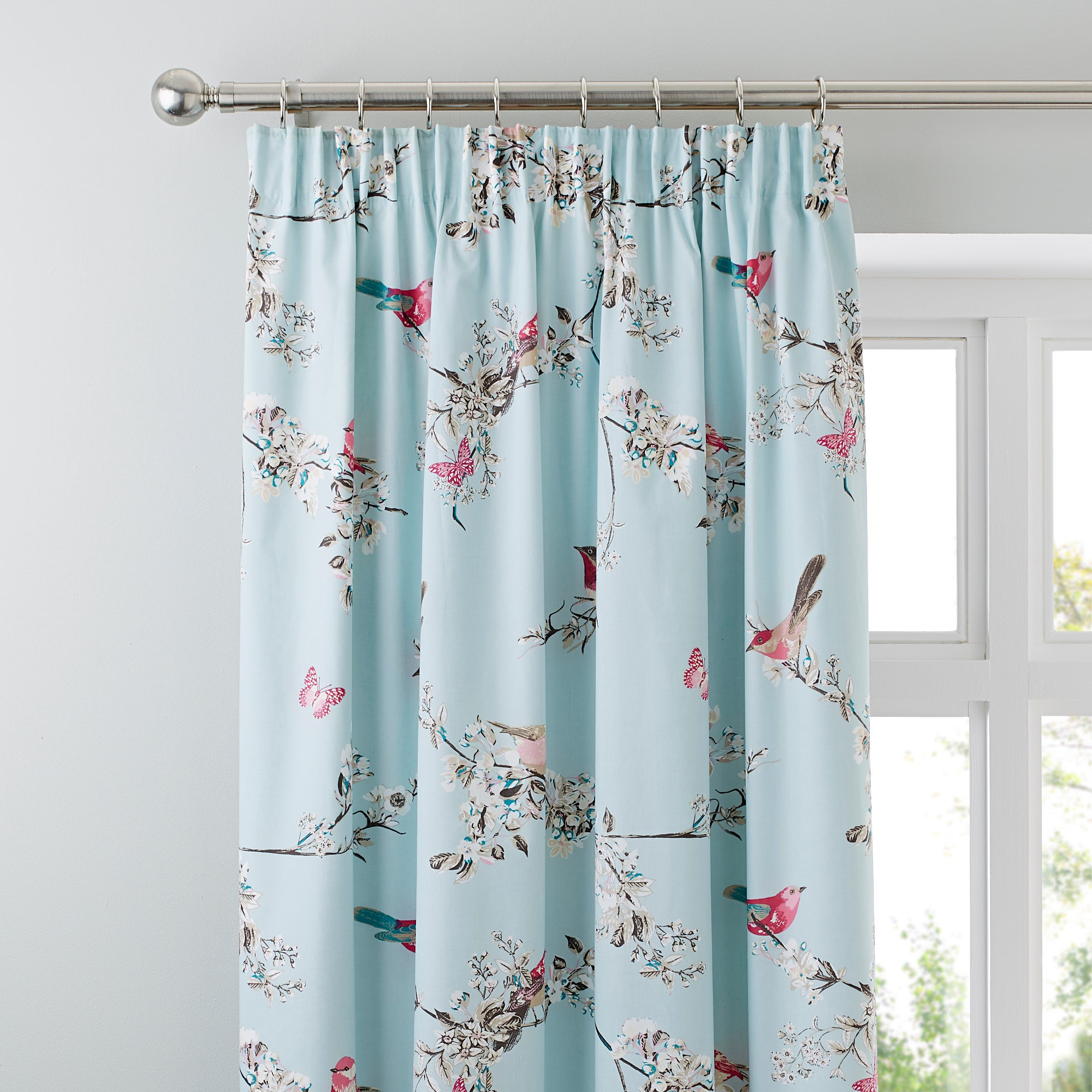 Duck egg beautiful birds thermal pencil pleat curtains for Space fabric dunelm
