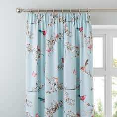 Duck Egg Beautiful Birds Thermal Pencil Pleat Curtains