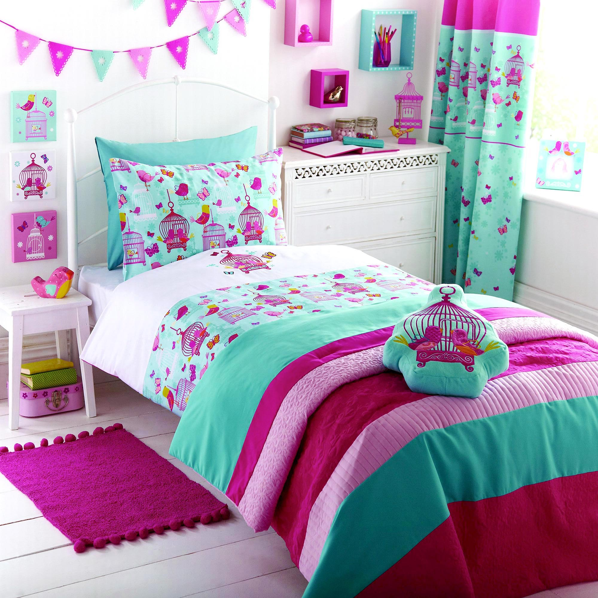 Kids Turquoise Birdcage Collection Duvet Cover Set