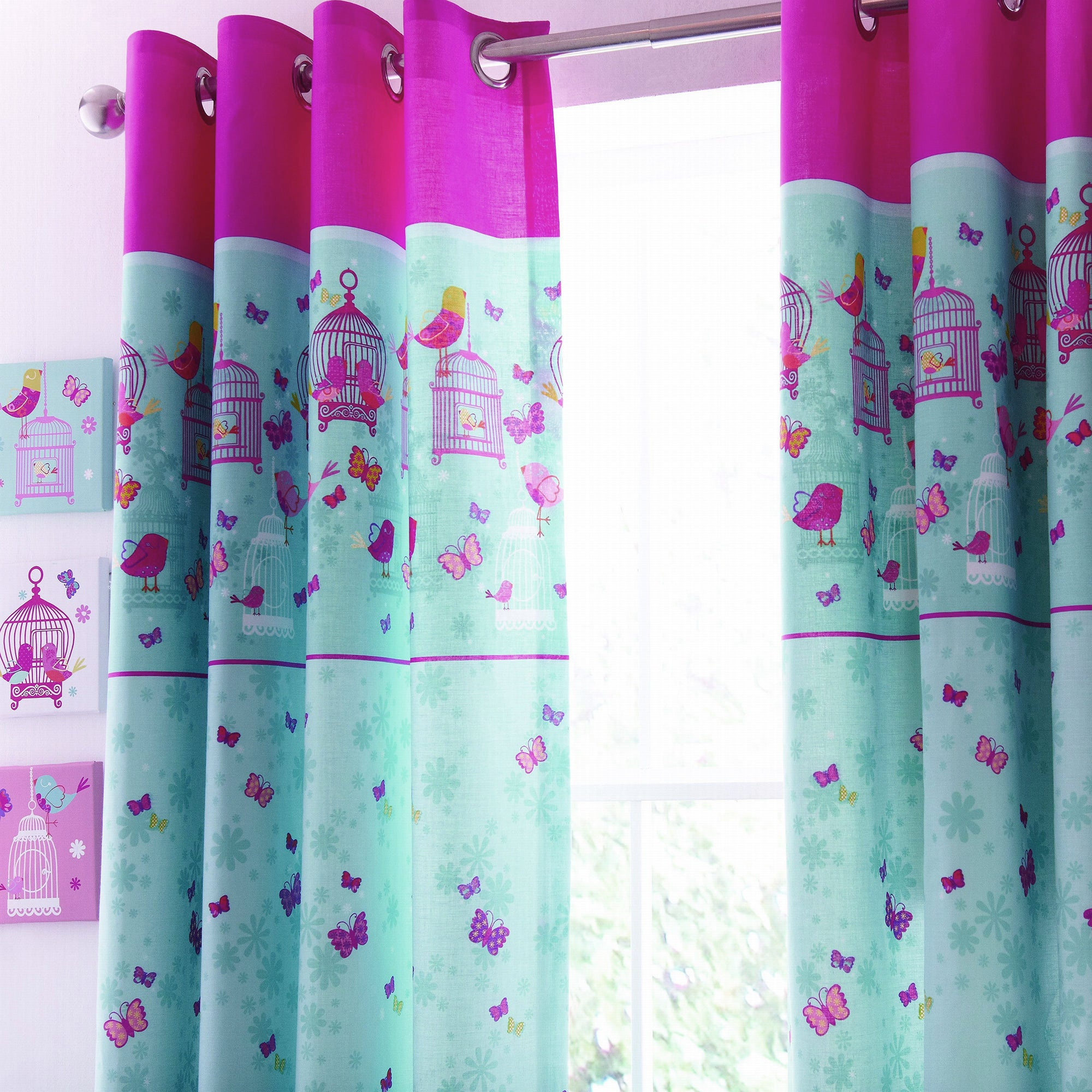 Kids Turquoise Birdcage Blackout Eyelet Curtains