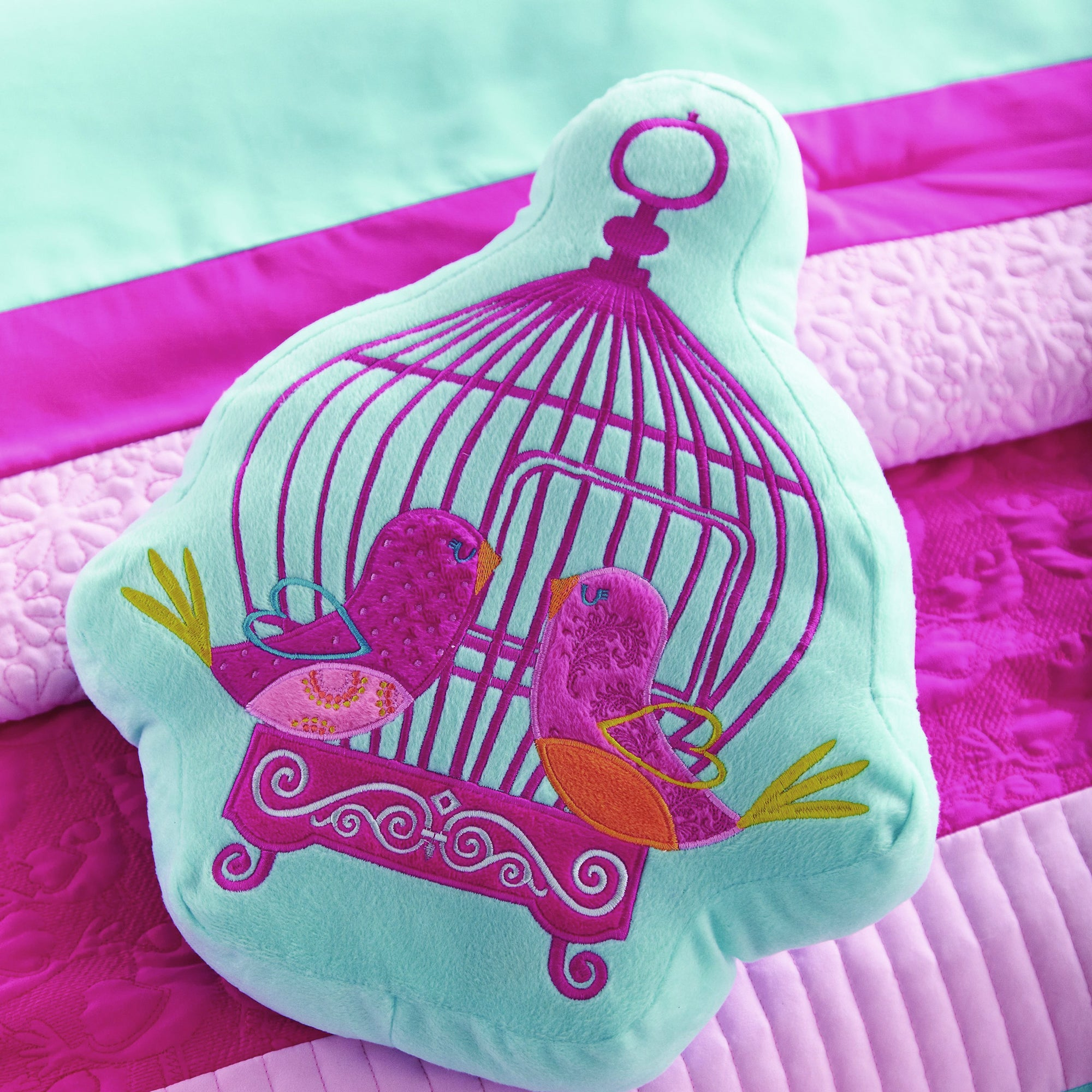 Kids Turquoise Birdcage Collection 3D Cushion