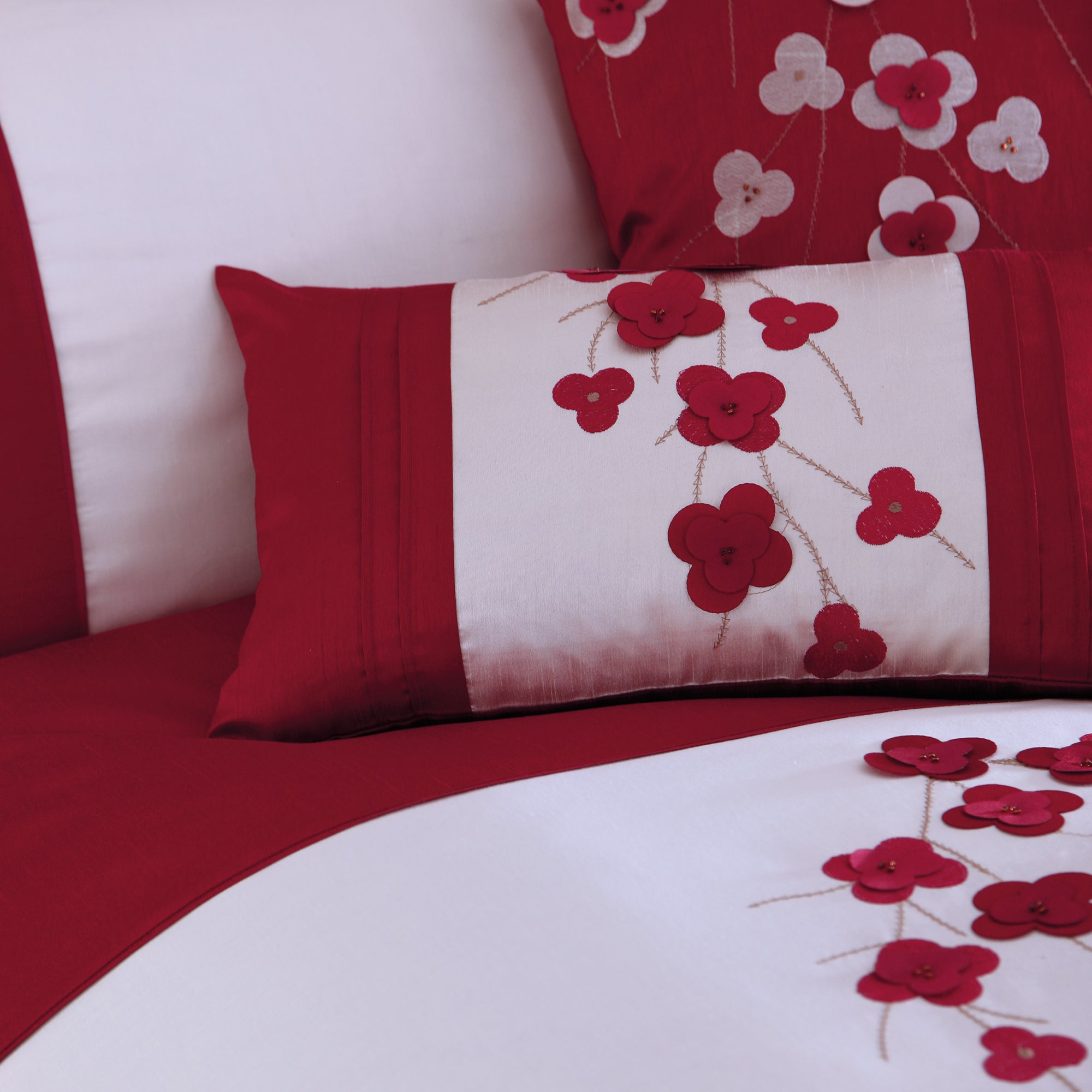 Red Blossom Trail Collection Boudoir Cushion
