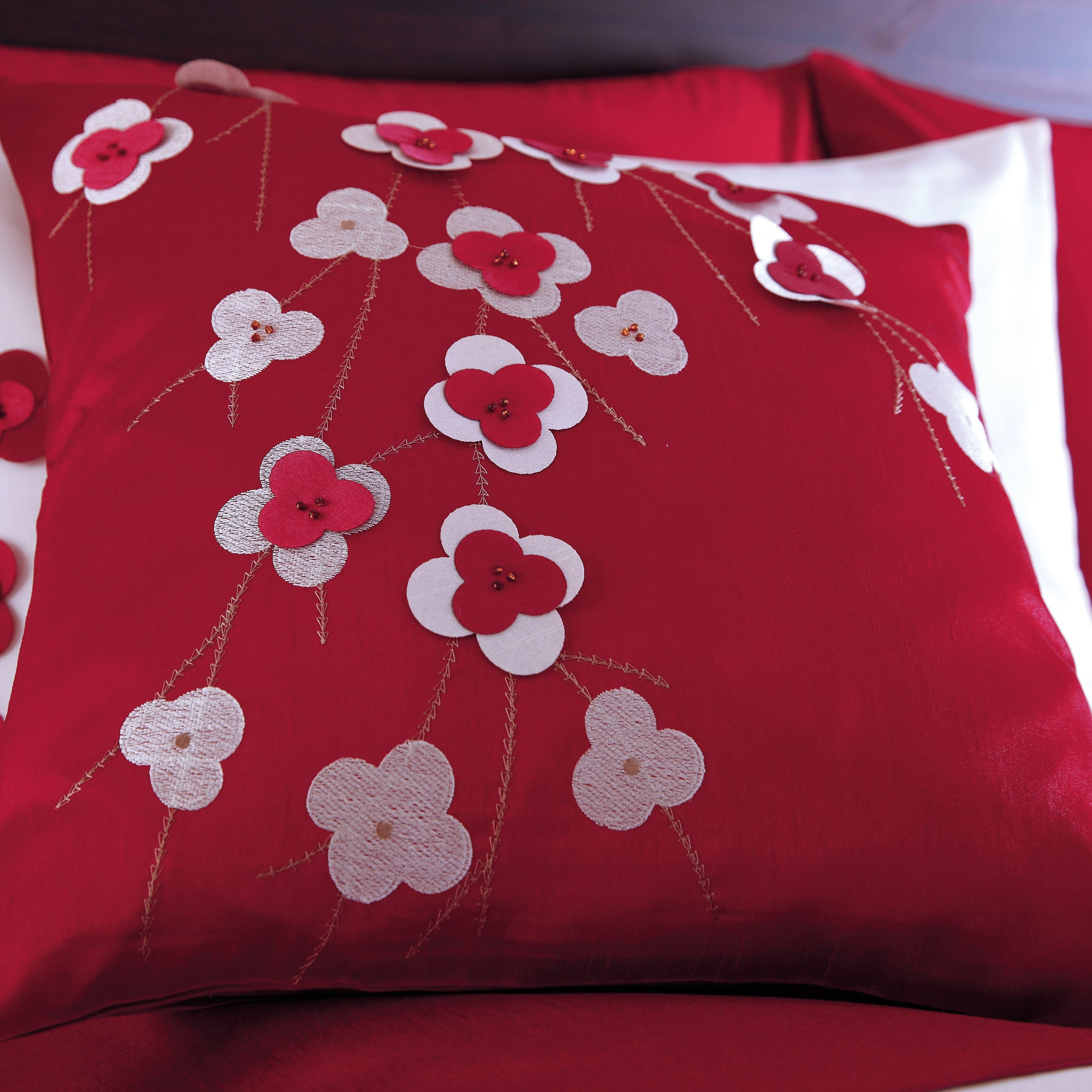 Red Blossom Trail Collection Cushion