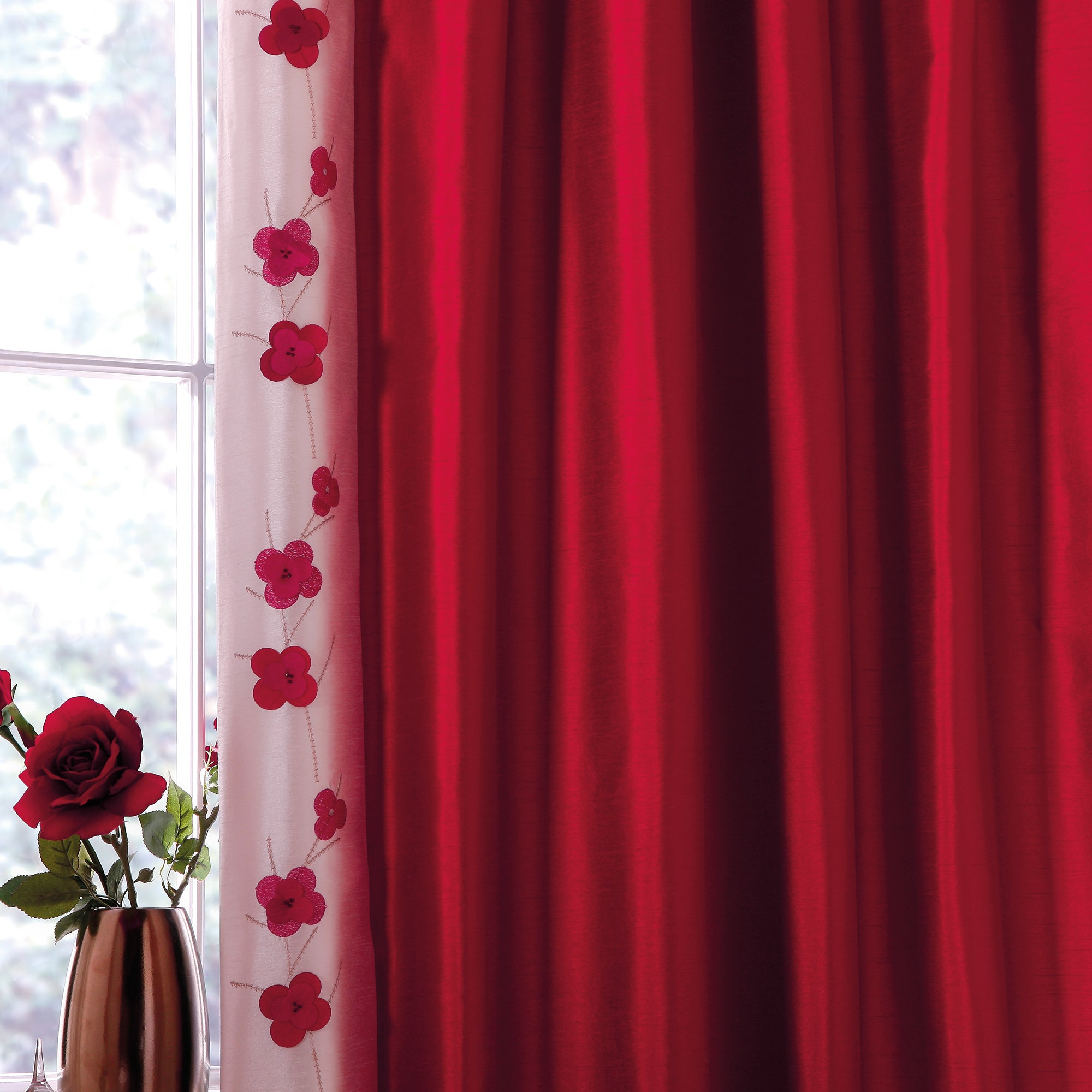 Red Blossom Trail Thermal Pencil Pleat Curtains