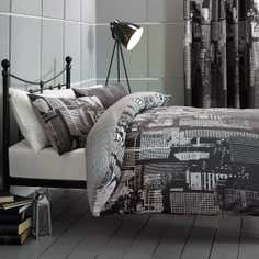 Black City Scene Duvet Cover Set