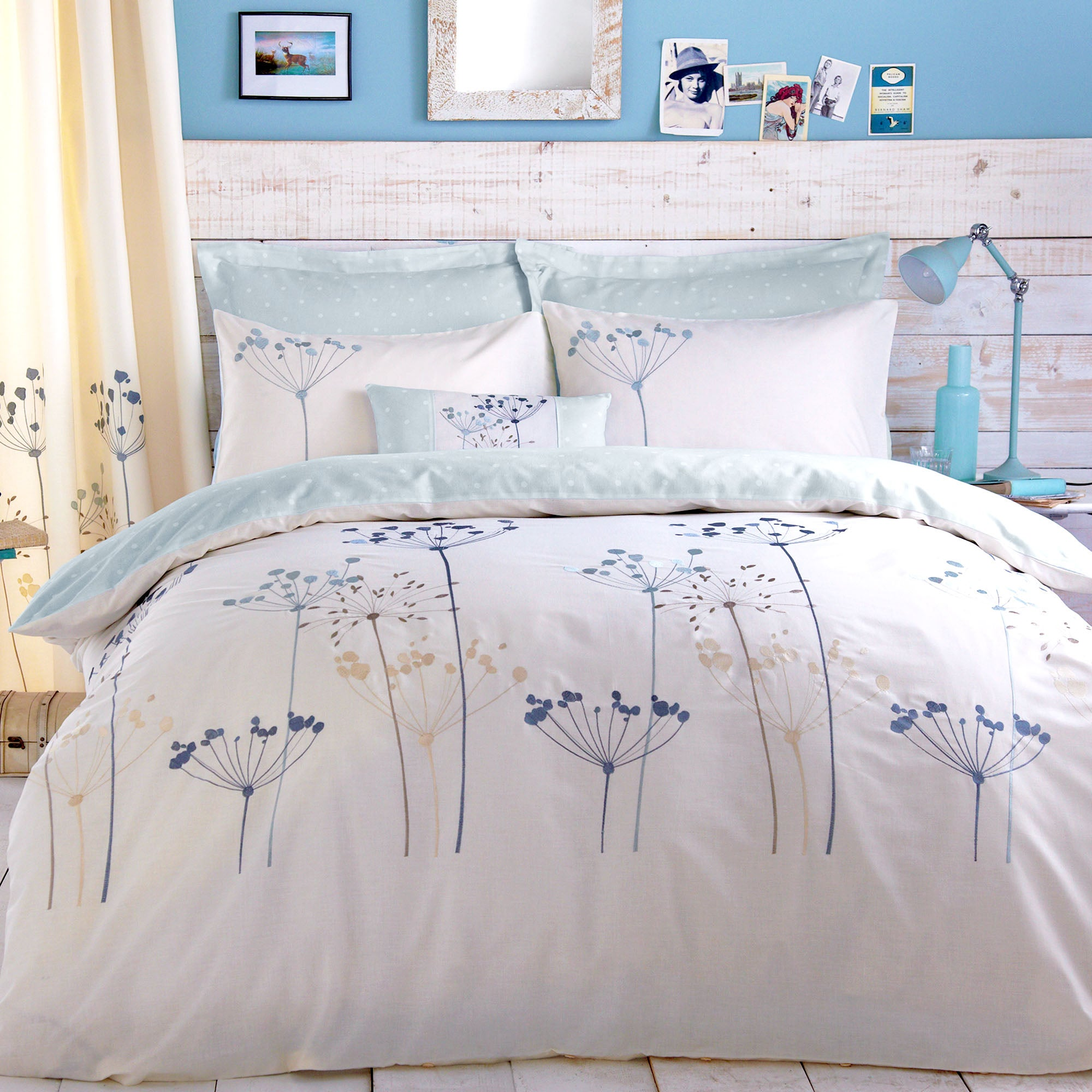 duck egg cow parsley collection duvet cover dunelm. Black Bedroom Furniture Sets. Home Design Ideas
