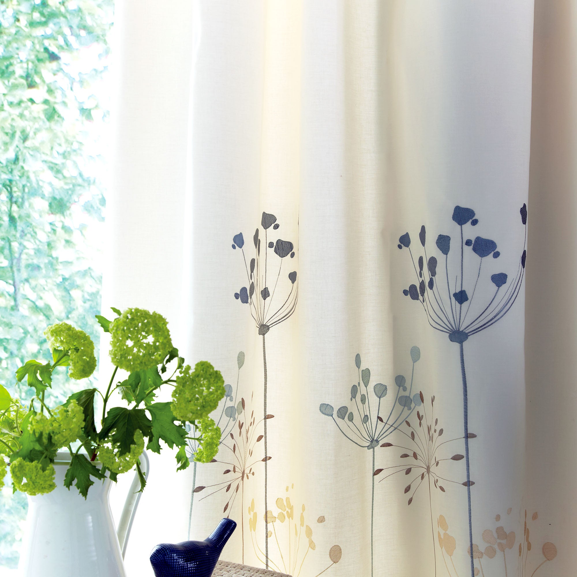 Duck Egg Cow Parsley Pencil Pleat Thermal Curtains