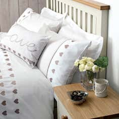 Taupe Gingham Hearts Collection Housewife Pillowcase