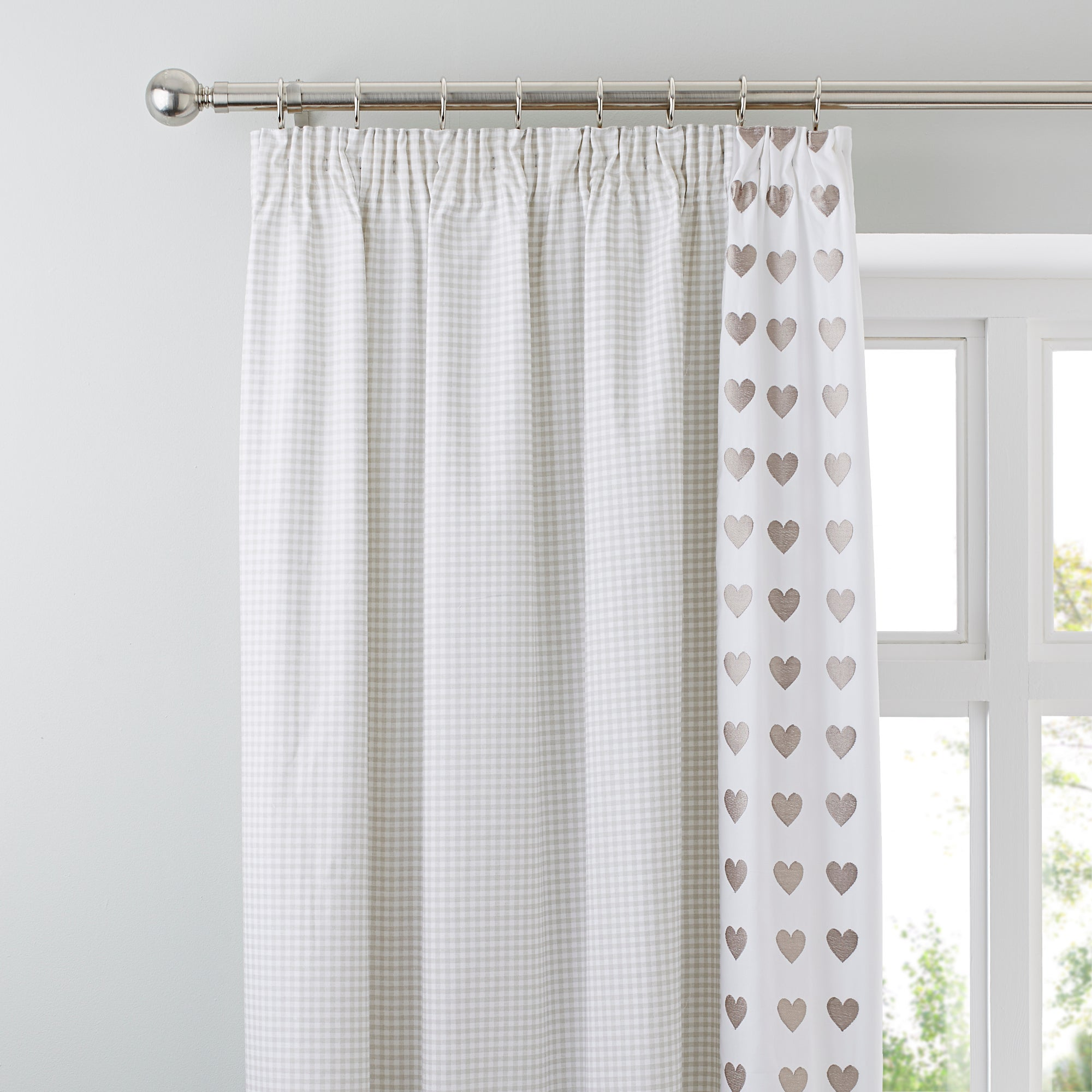 taupe gingham hearts thermal pencil pleat curtains dunelm. Black Bedroom Furniture Sets. Home Design Ideas