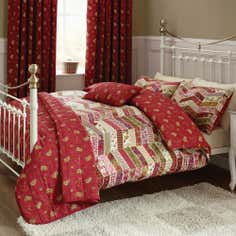 Red Herringbone Patchwork Collection Duvet Cover Set