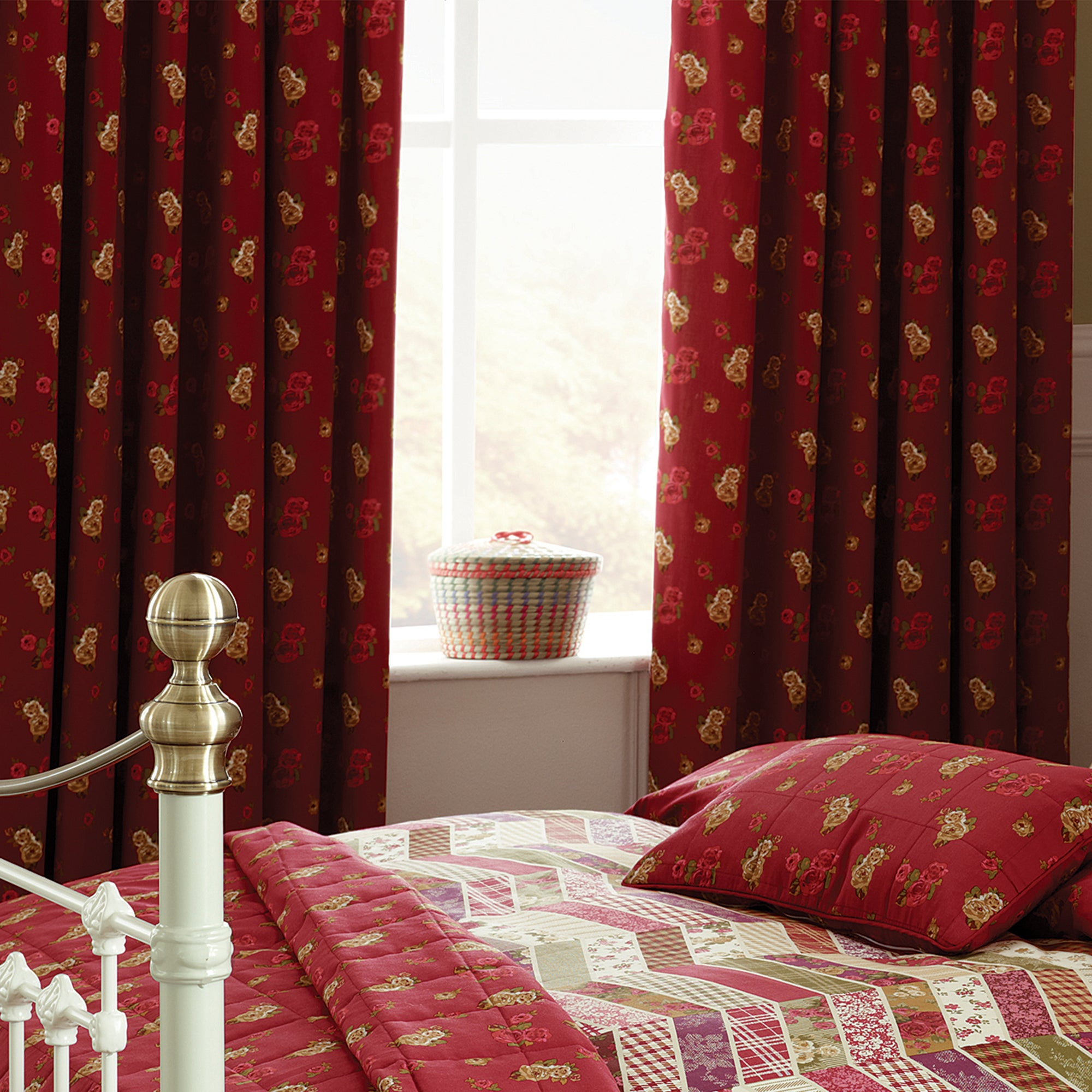 Red Herringbone Patchwork Thermal Pencil Pleat Curtains