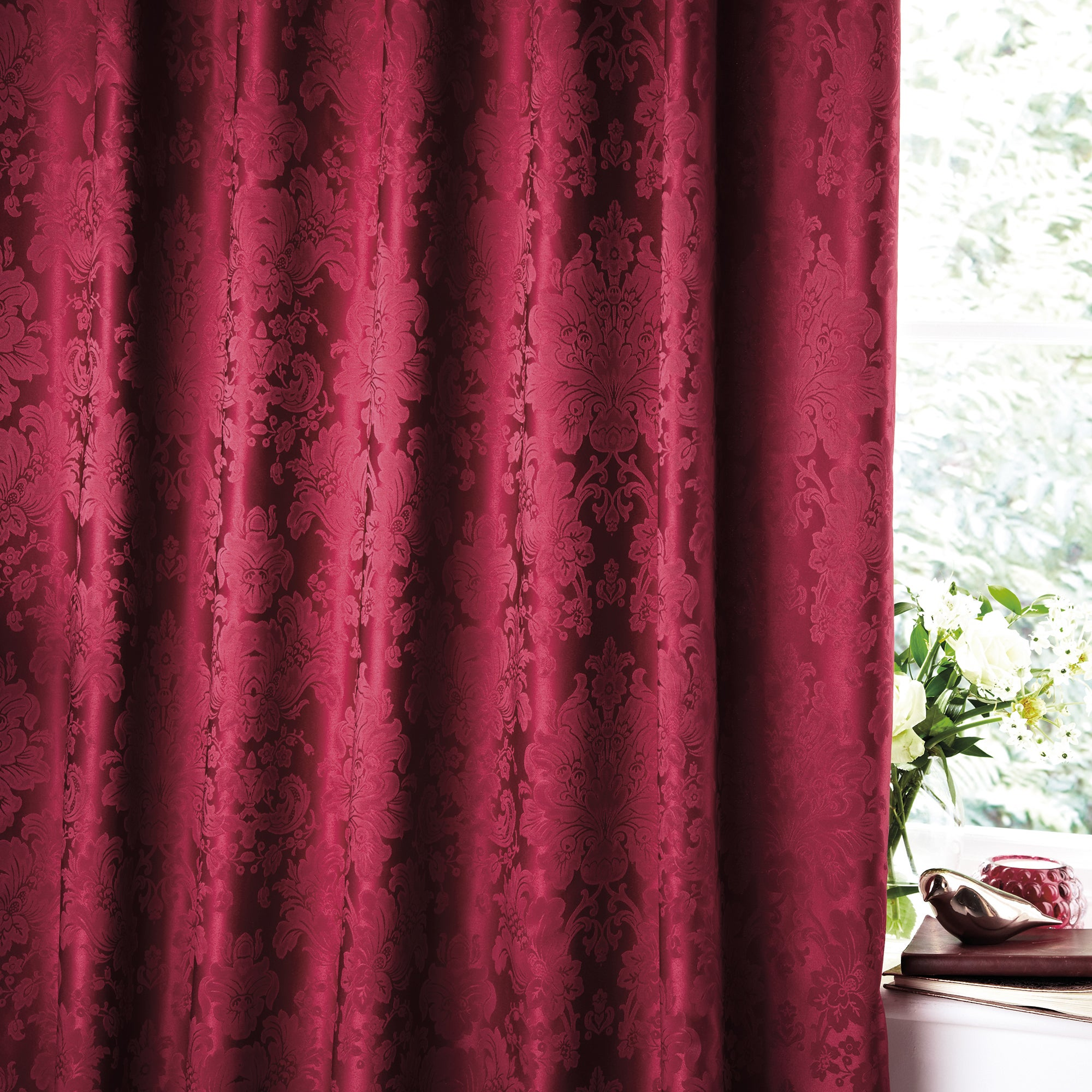 Red Libby Thermal Pencil Pleat Curtains