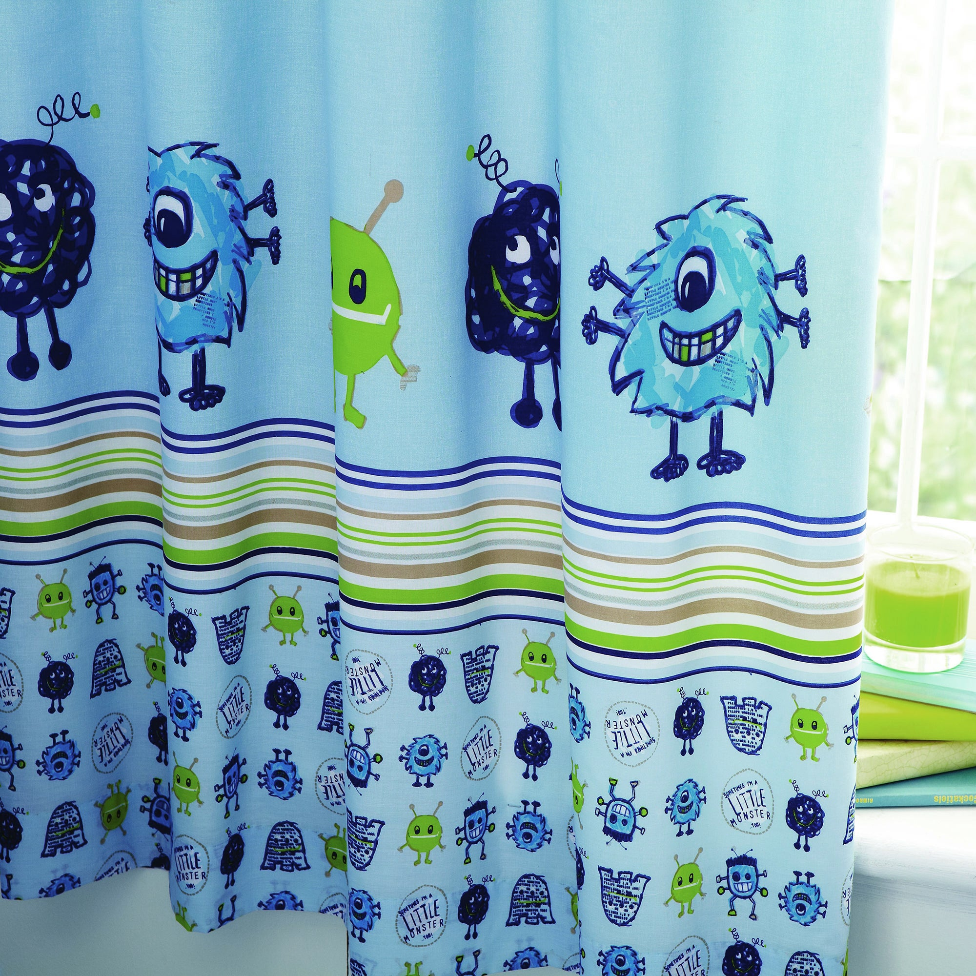 Kids Little Monster Blackout Pencil Pleat Curtains
