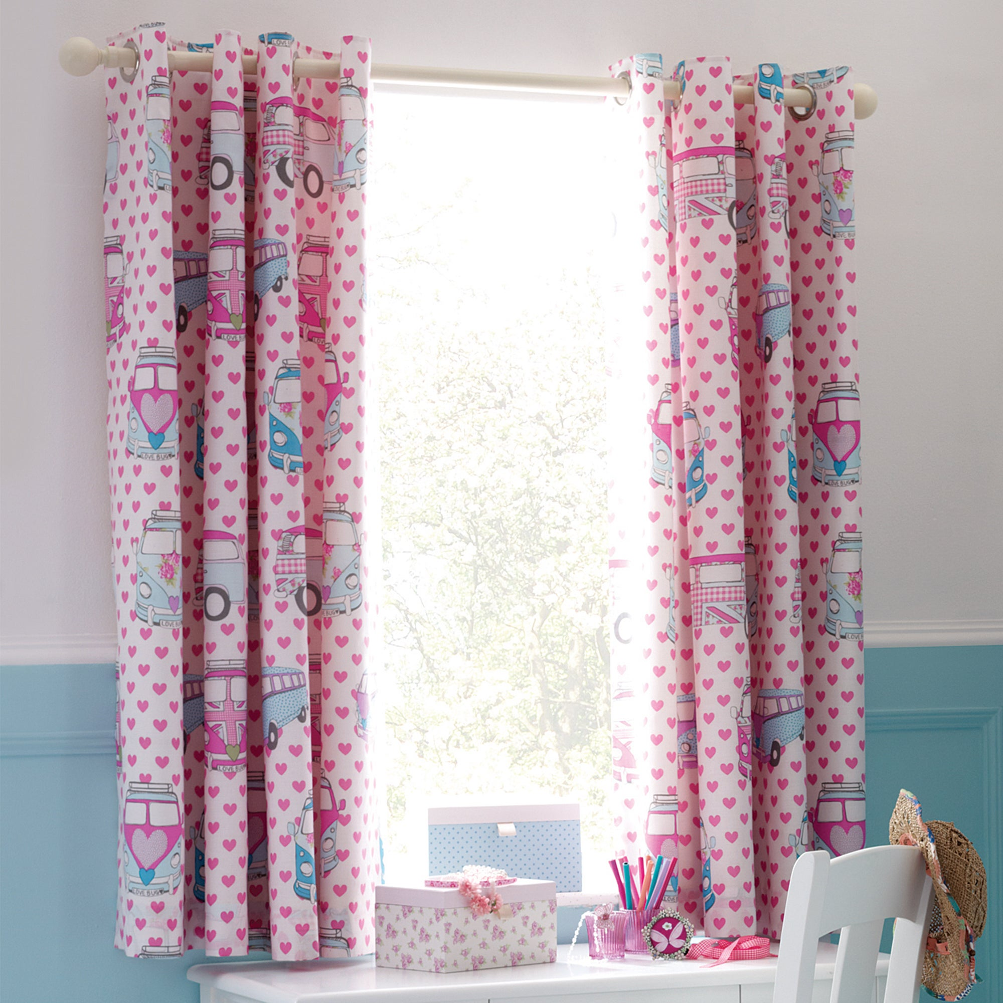 Kids Union Jack Camper Van Blackout Eyelet Curtains