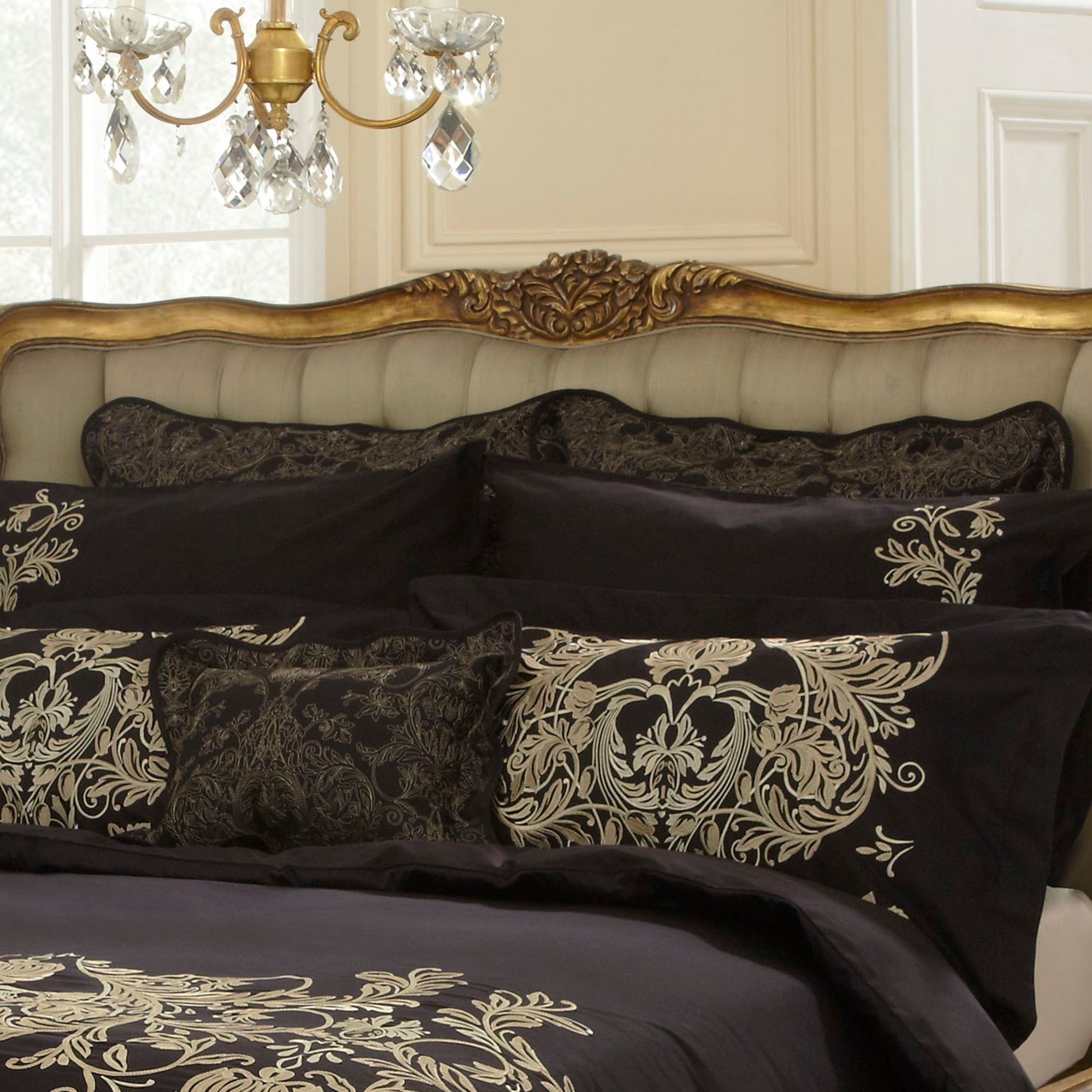 Dorma Black Mayfair Collection Continental Pillowcase