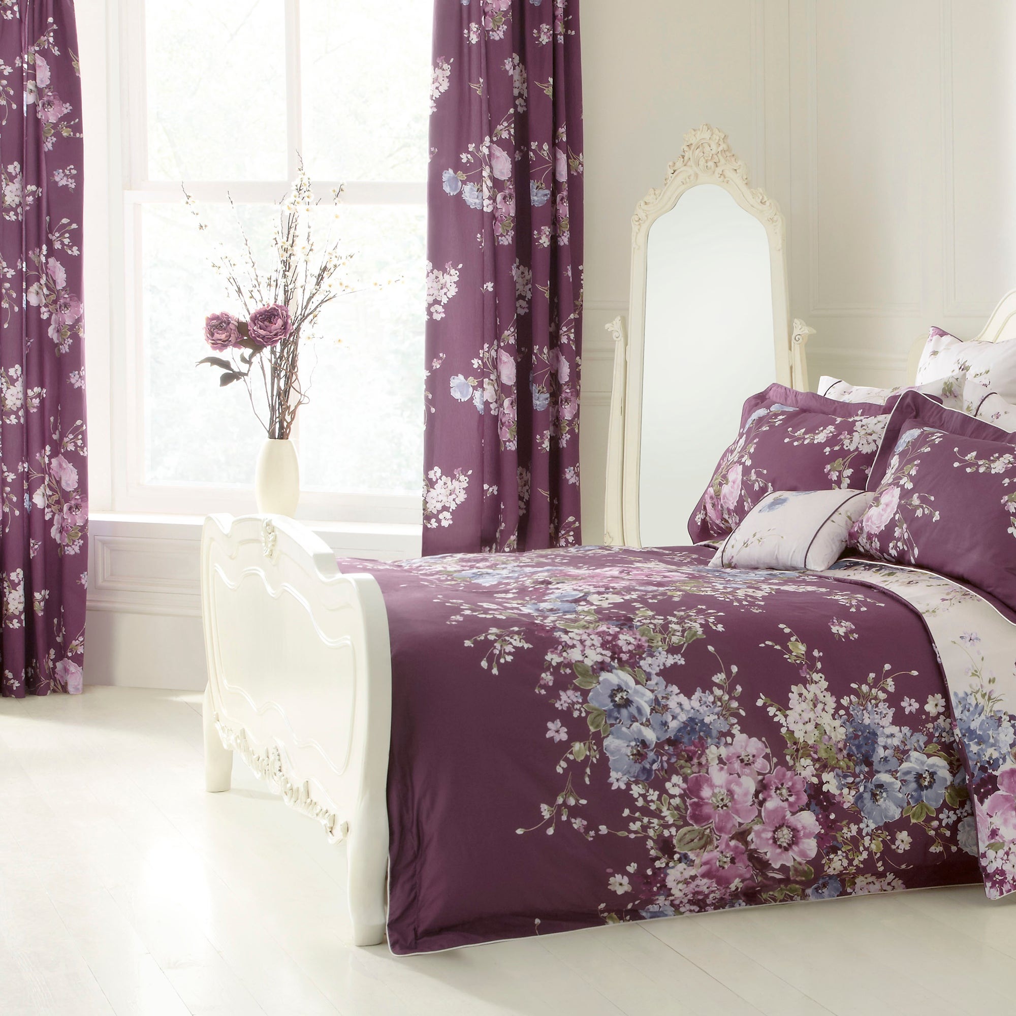 Dorma Purple Florence Lined Pencil Pleat Curtains