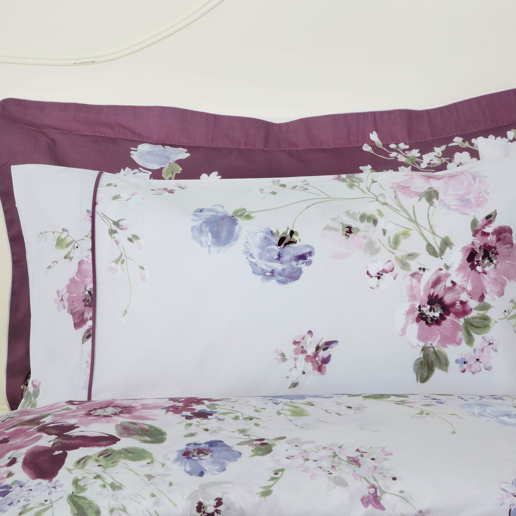 Dorma Purple Florence Collection Cuffed Pillowcase