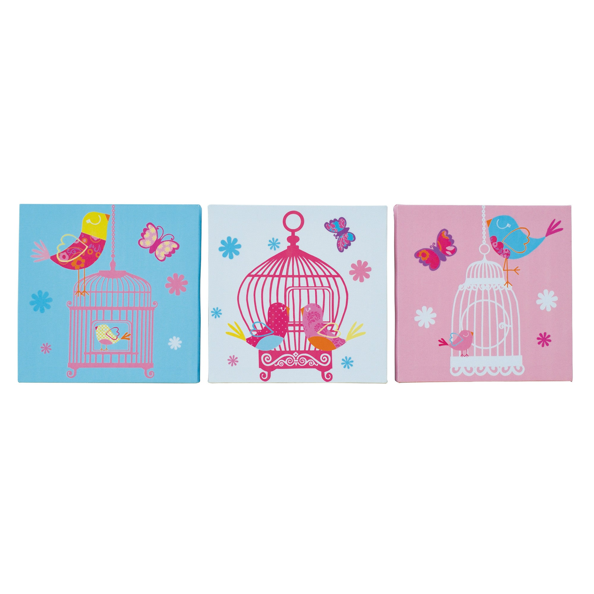 Kids Birdcage Collection Set of 3 Canvases