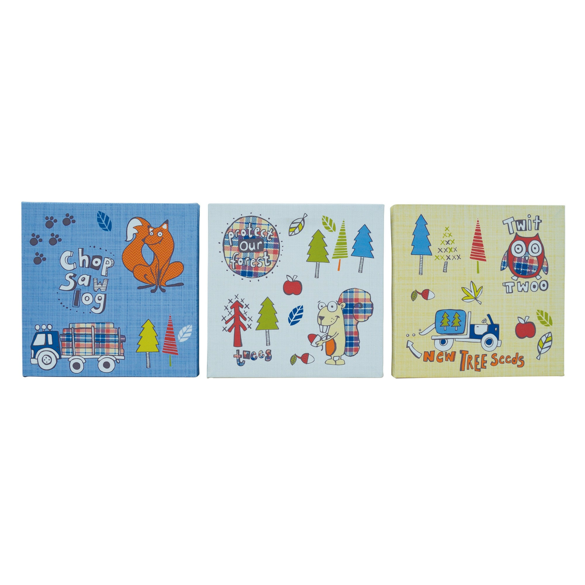 Kids Cyril & Chums Collection Set of Three Canvases